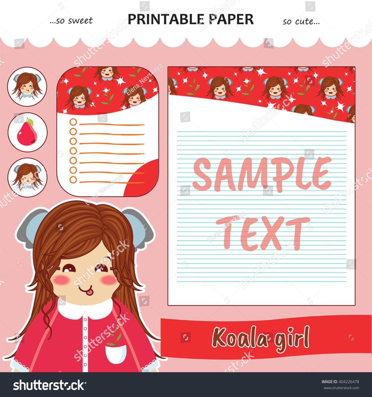 Kawaii Cute Set Vector Printable Paper Stock Vector (Royalty Free ...