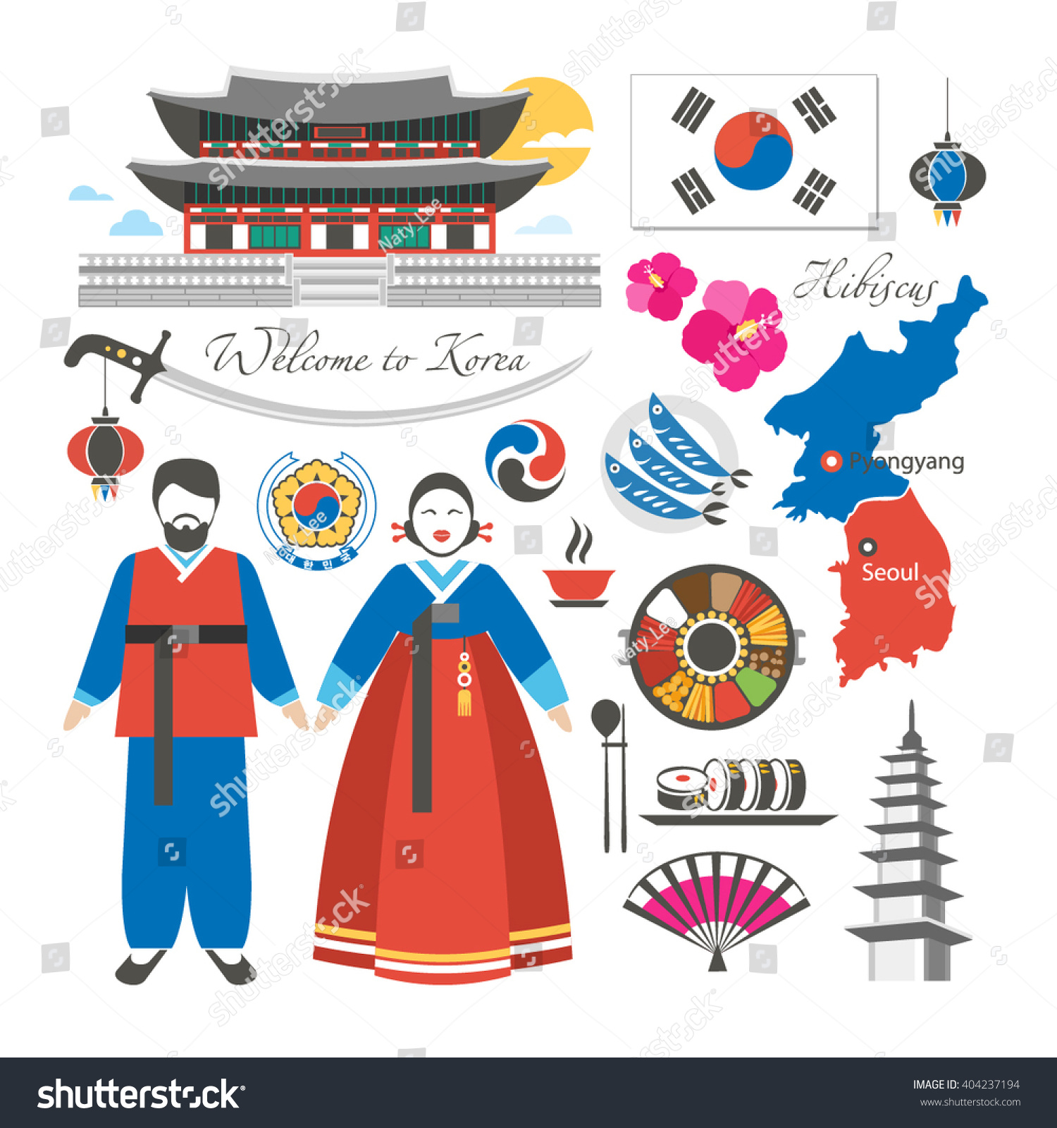 Welcome korea traditional symbols collection stock vector welcome to korea traditional symbols collection biocorpaavc Image collections