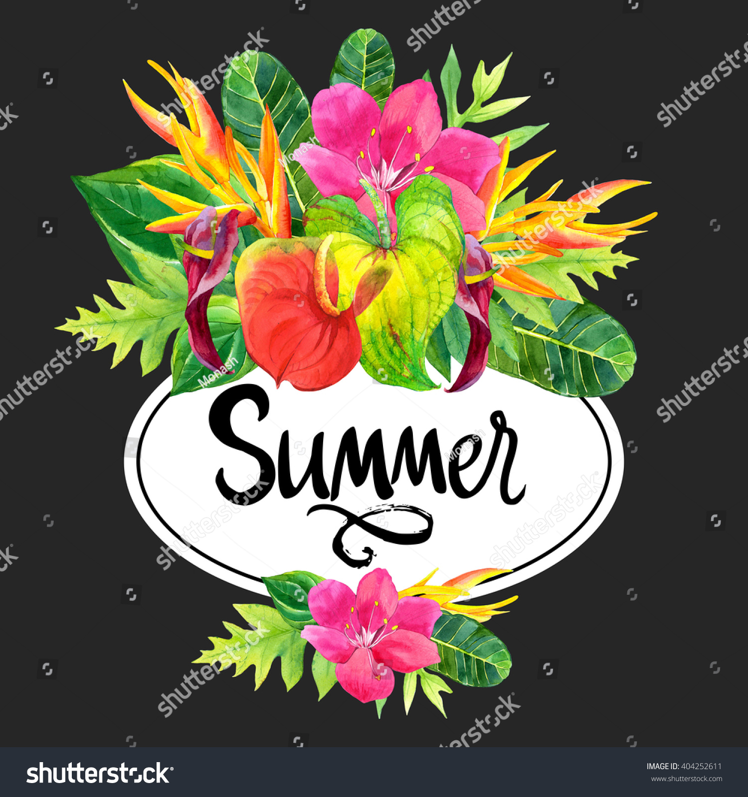 Royalty free hawaiian bouquet with realistic 404252611 stock photo hawaiian bouquet with realistic watercolor flowers summer floral illustration with tropical plants on white izmirmasajfo
