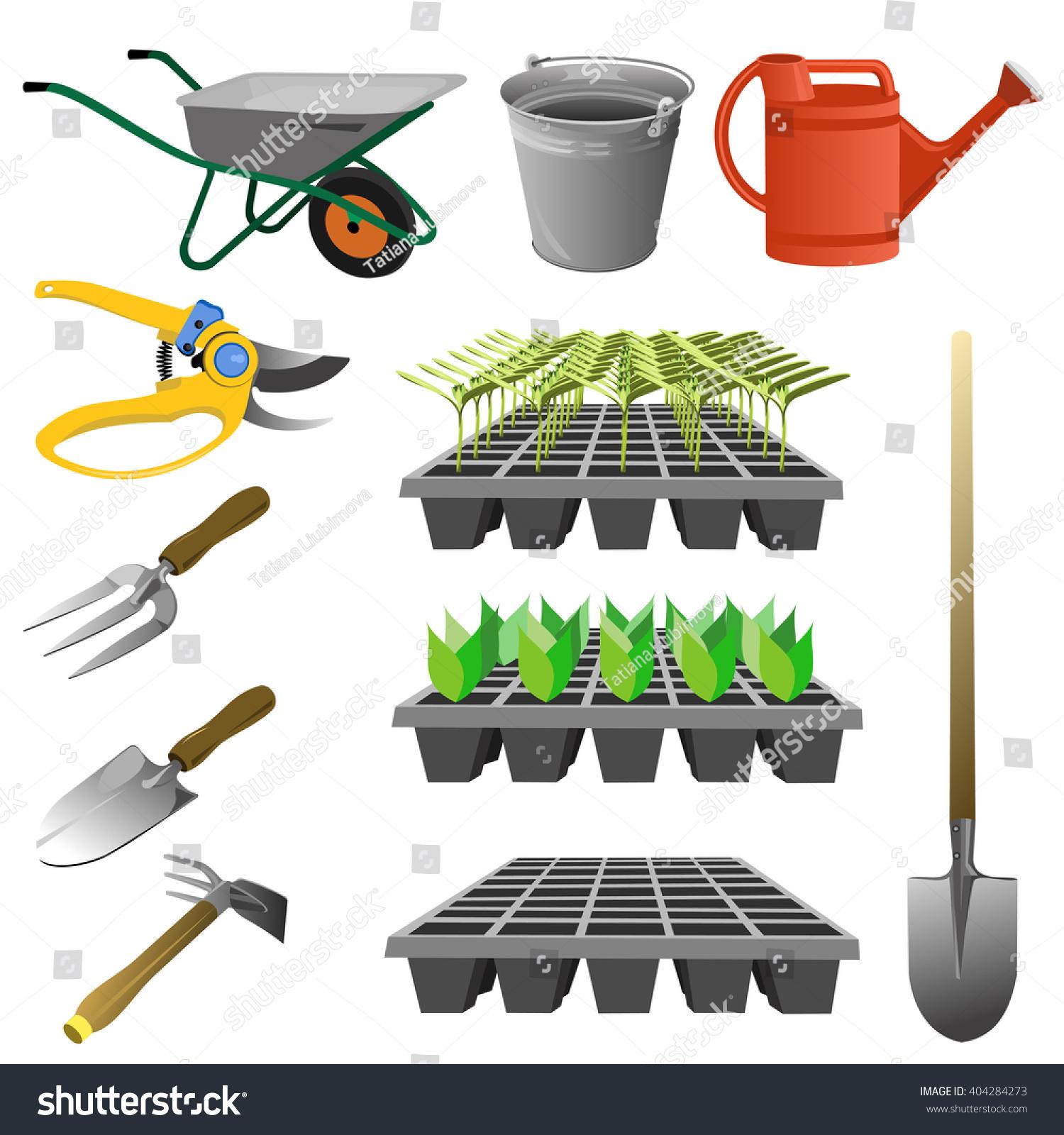 Set garden tools vector illustration various stock vector for Gardening tools vector