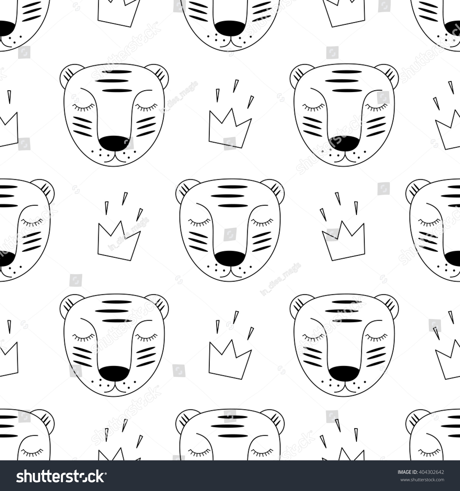 black white baby tiger crown seamless stock vector 404302642