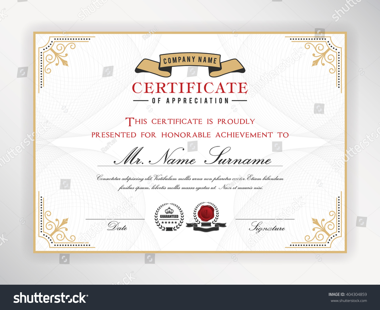 Certificate template design emblem flourish border stock vector certificate template design with emblem flourish border on white background a4 size 1betcityfo Image collections