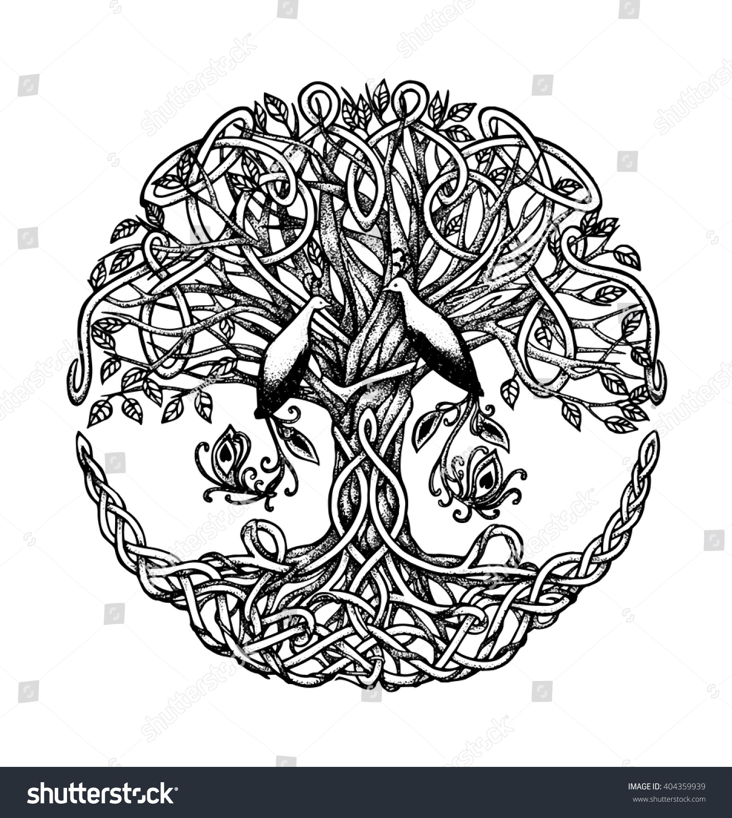 Tree Of Life Invitation Rsvp Celtic Life By: Celtic Tree Birds Paradise Graphic Arts Stock Vector