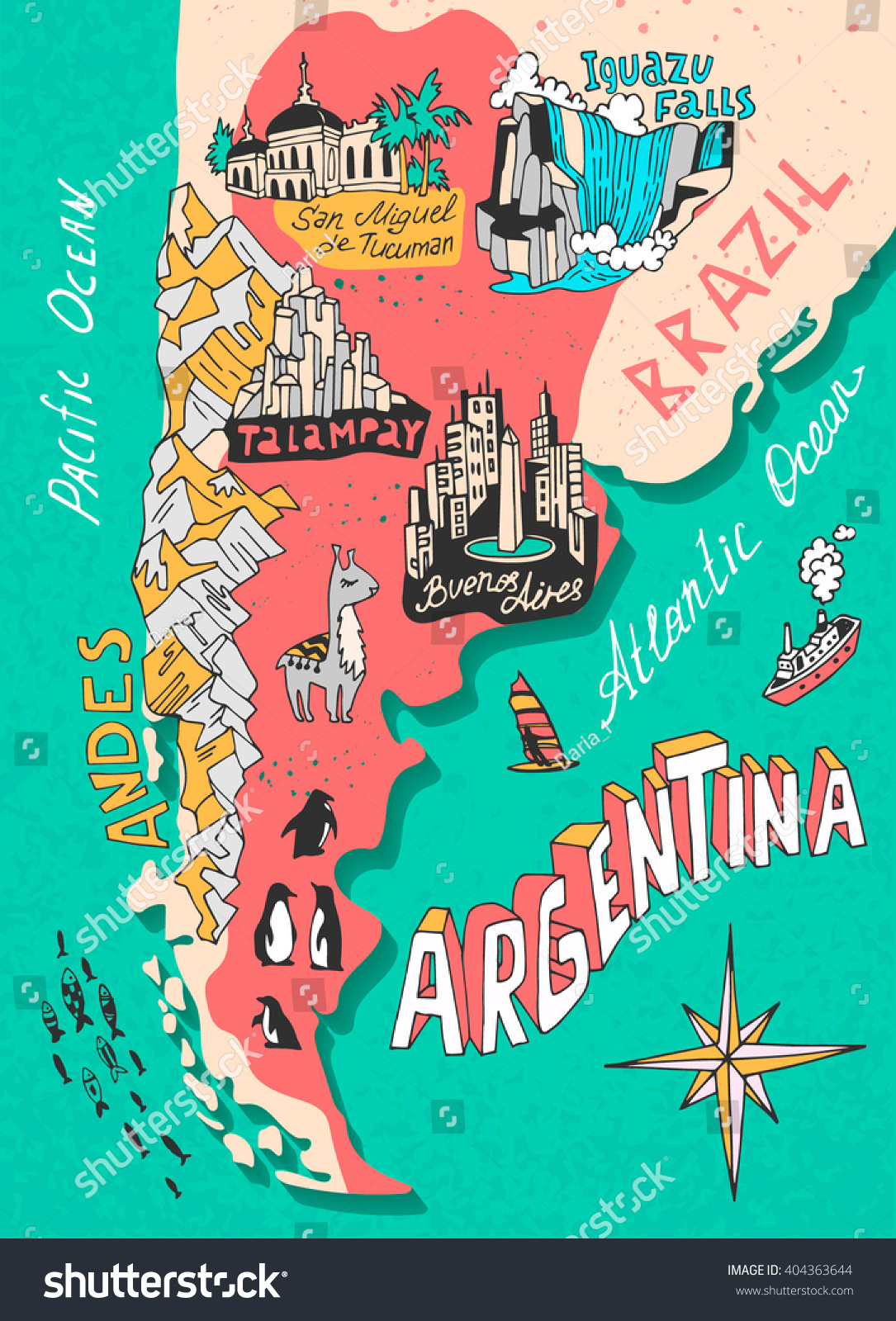 Illustrated Map Argentina Travel Cartography Stock Vector - Argentina landmarks map