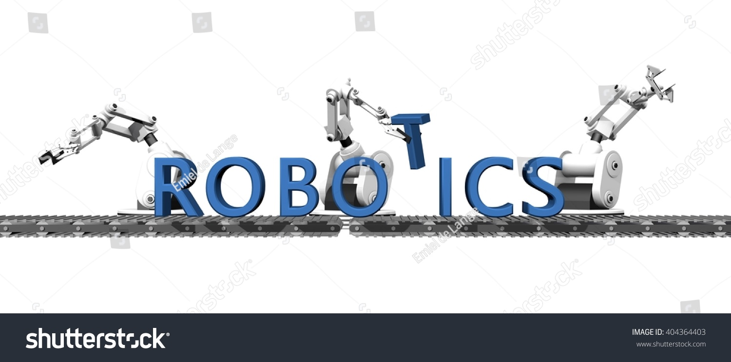 3 D Render Production Word Robotics Stock Illustration 404364403