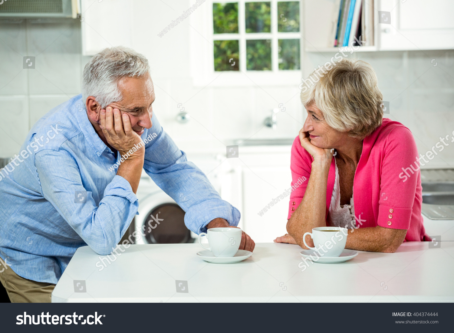 Romantic Senior Couple Coffee Cups Table Stock Photo (Download Now ...
