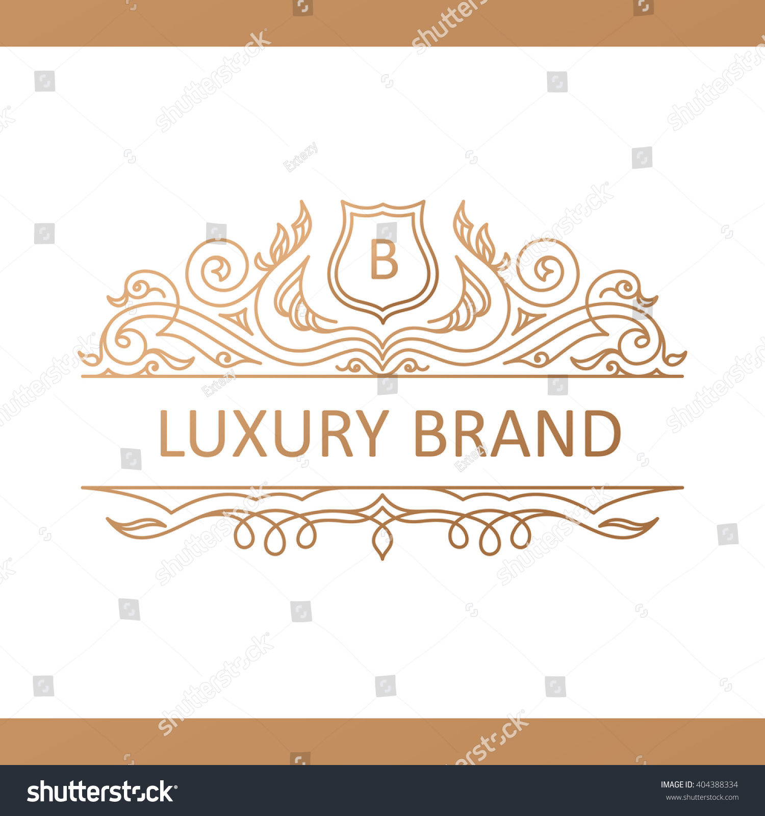 Line Card Examples: Calligraphic Luxury Crest Line Logo Template Stock Vector
