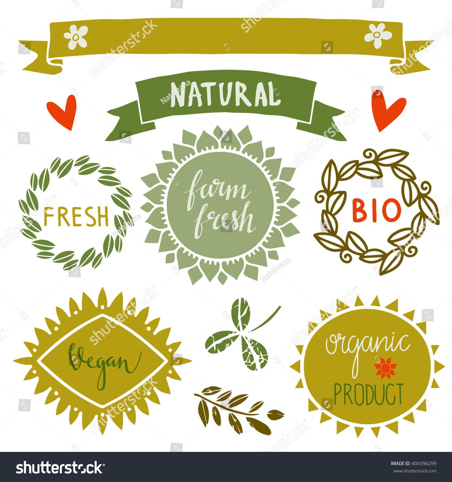 Organic Food Labels Set Bio Eco Stock Vector 404396299 - Shutterstock