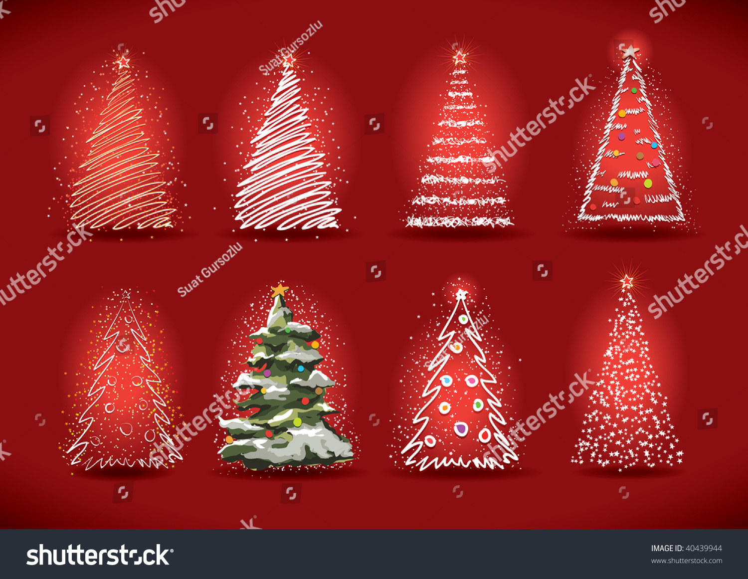 Christmas Tree Collection Trowbridge : Vector christmas tree collection hand drawing