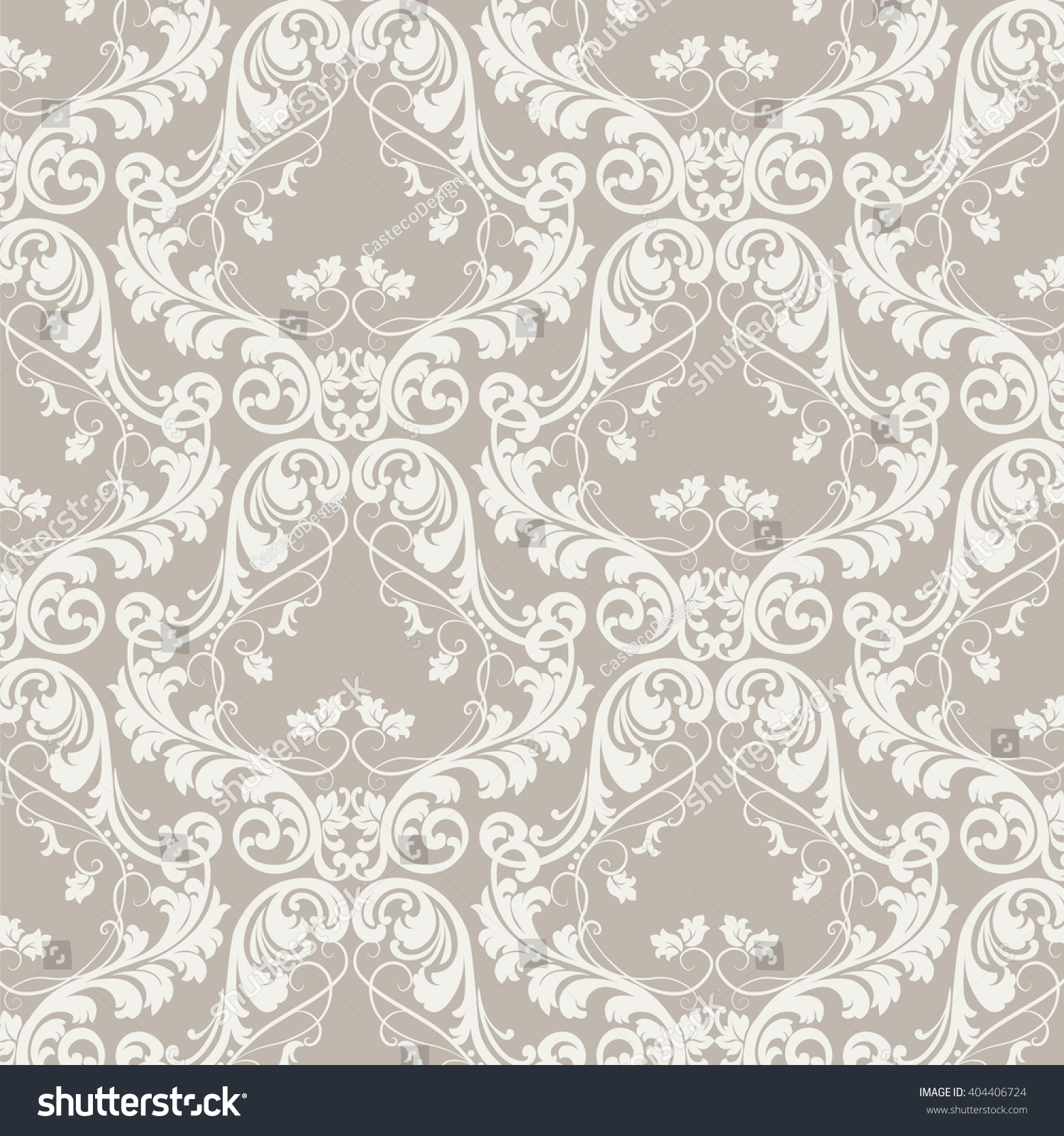 Elegant Cream Hallway With Damask Wallpaper: Royalty-free Vector Baroque Floral Damask Ornament