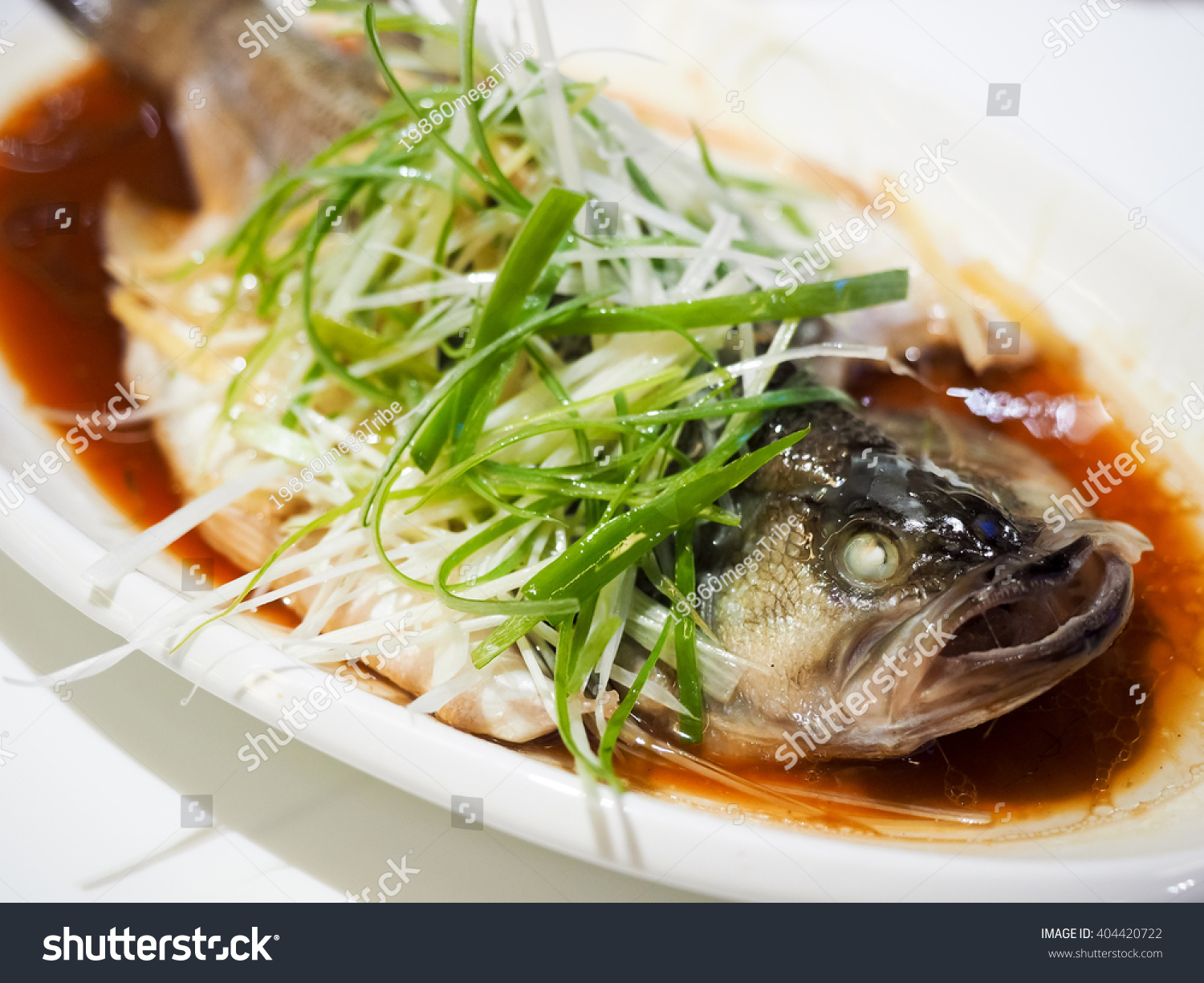 Fish soy sauce served on white stock photo 404420722 for Soy sauce fish