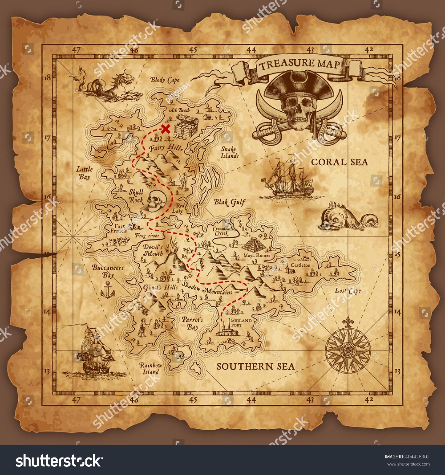 Vector Super Detailed Pirate Treasure Map Stock Vector ...
