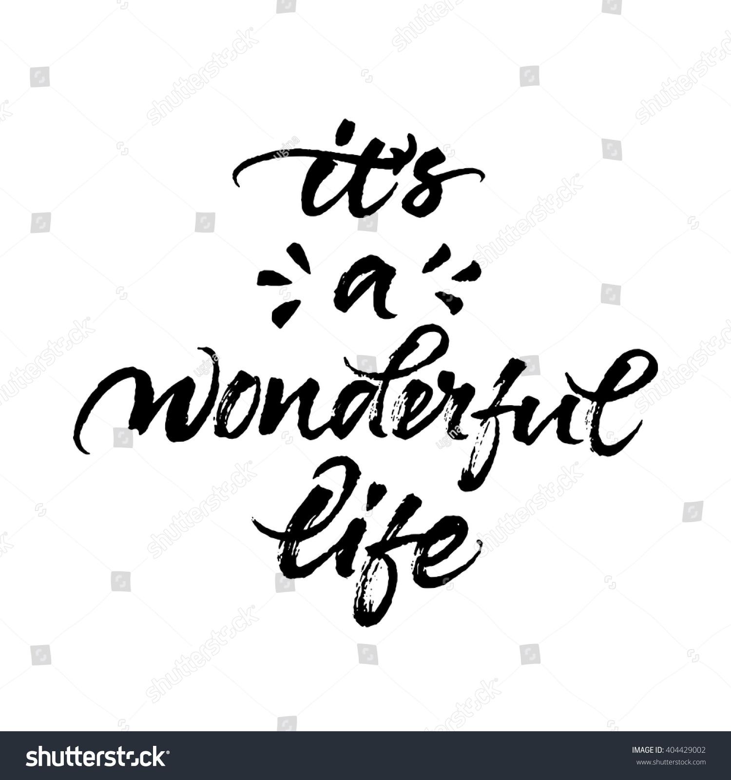 Wonderful Life Modern Brush Calligraphy Rough Stock Vector 404429002 Shutterstock