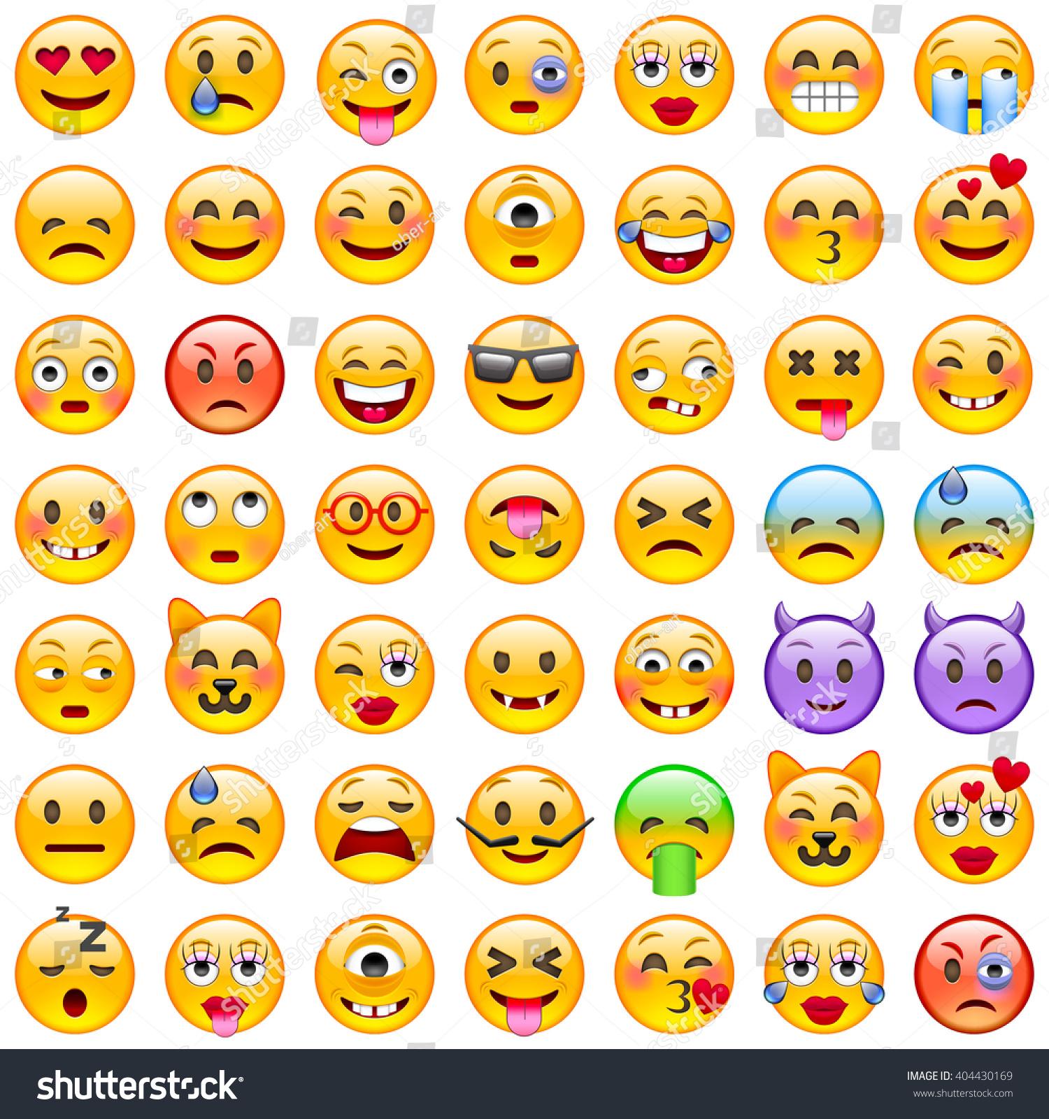 Set Emoticons Set Emoji Smile Icons Stock Vector 404430169 ...