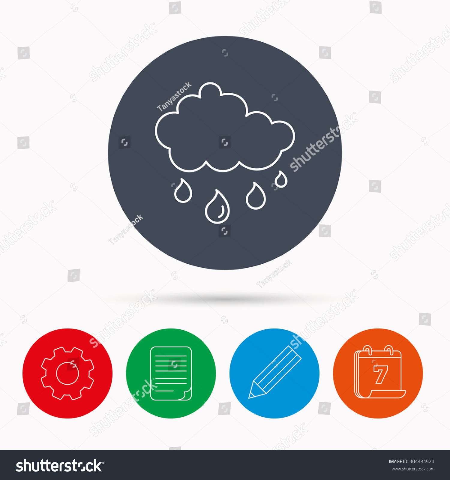 Rain icon Water drops and cloud sign Rainy overcast day symbol Calendar cogwheel document file and pencil icons