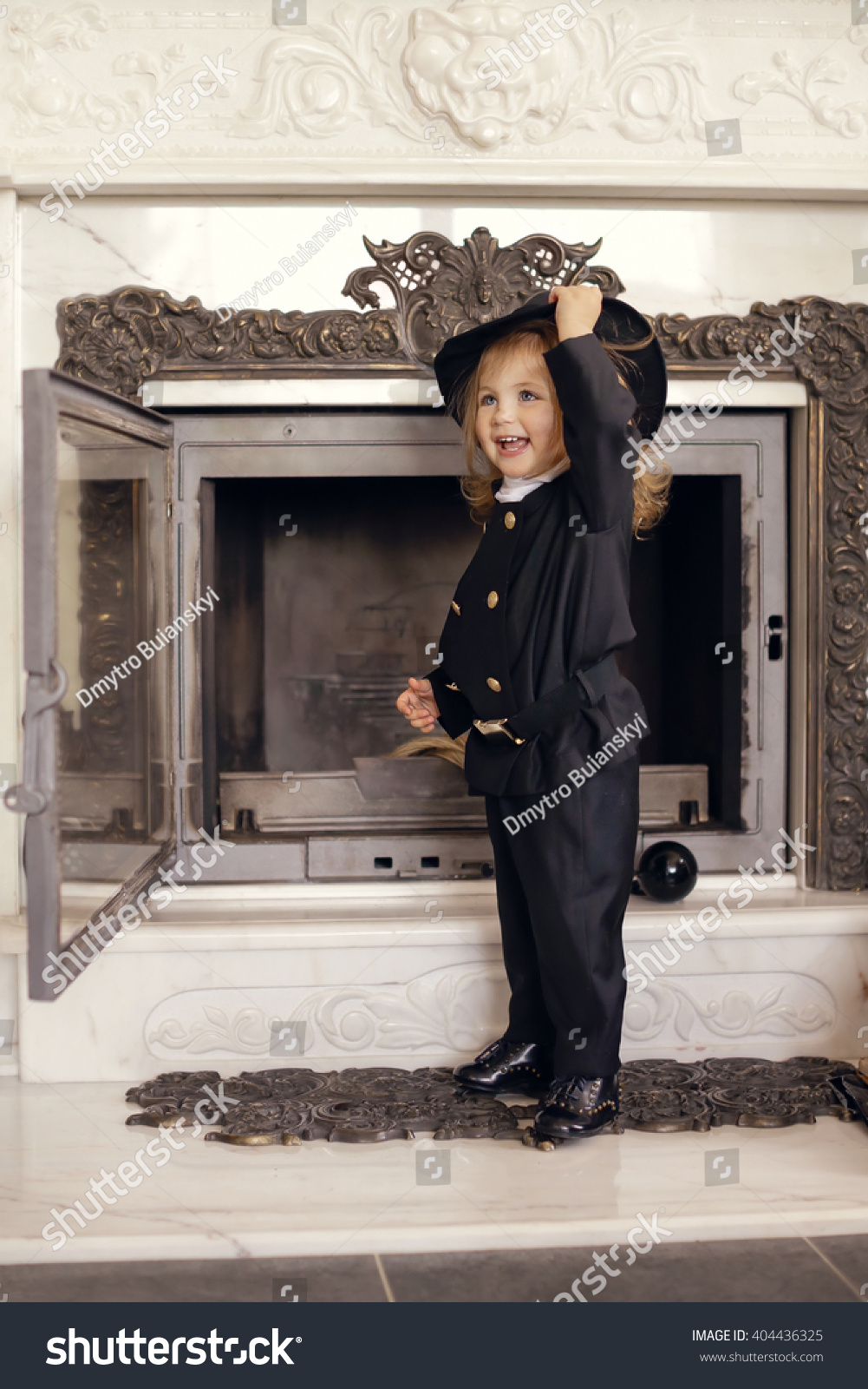 Girl Chimney Sweep Against Fireplace Lucky Stock Photo
