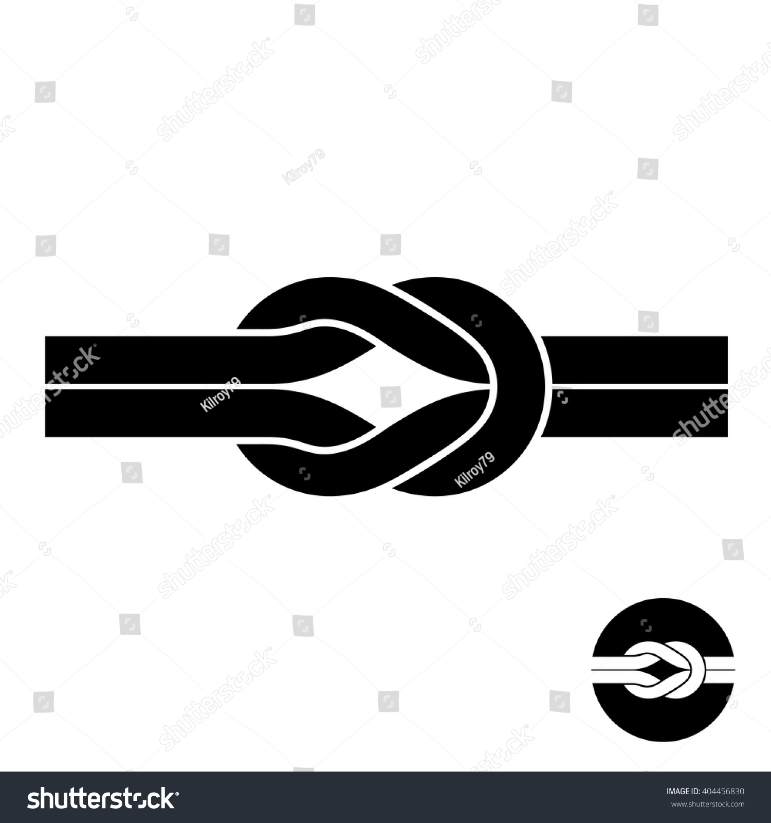 Knot Black Symbol Two Wire Loops Stock Vector 404456830 - Shutterstock