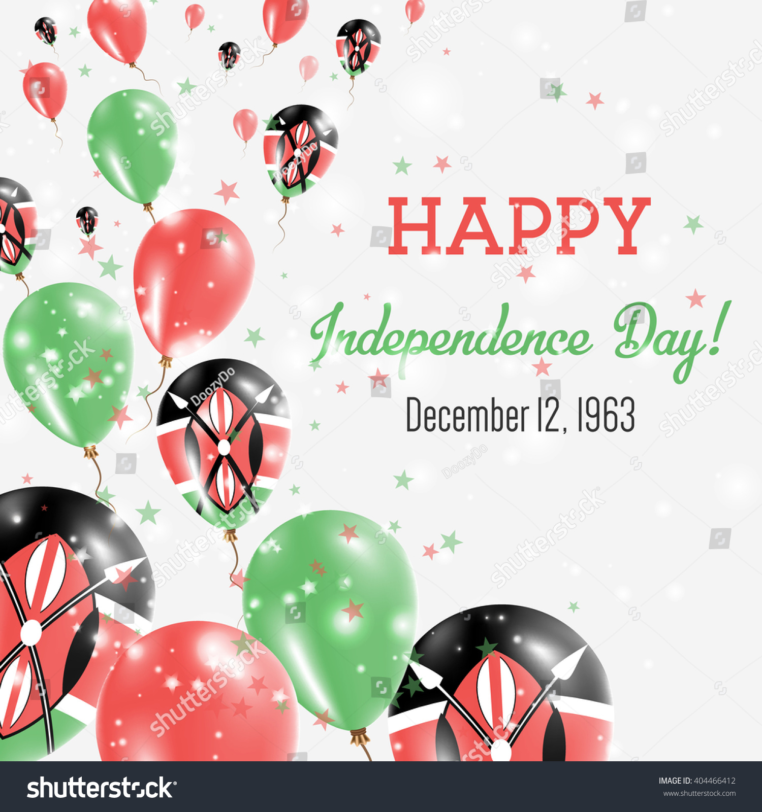Kenya Independence Day Greeting Card Flying Stock Vector