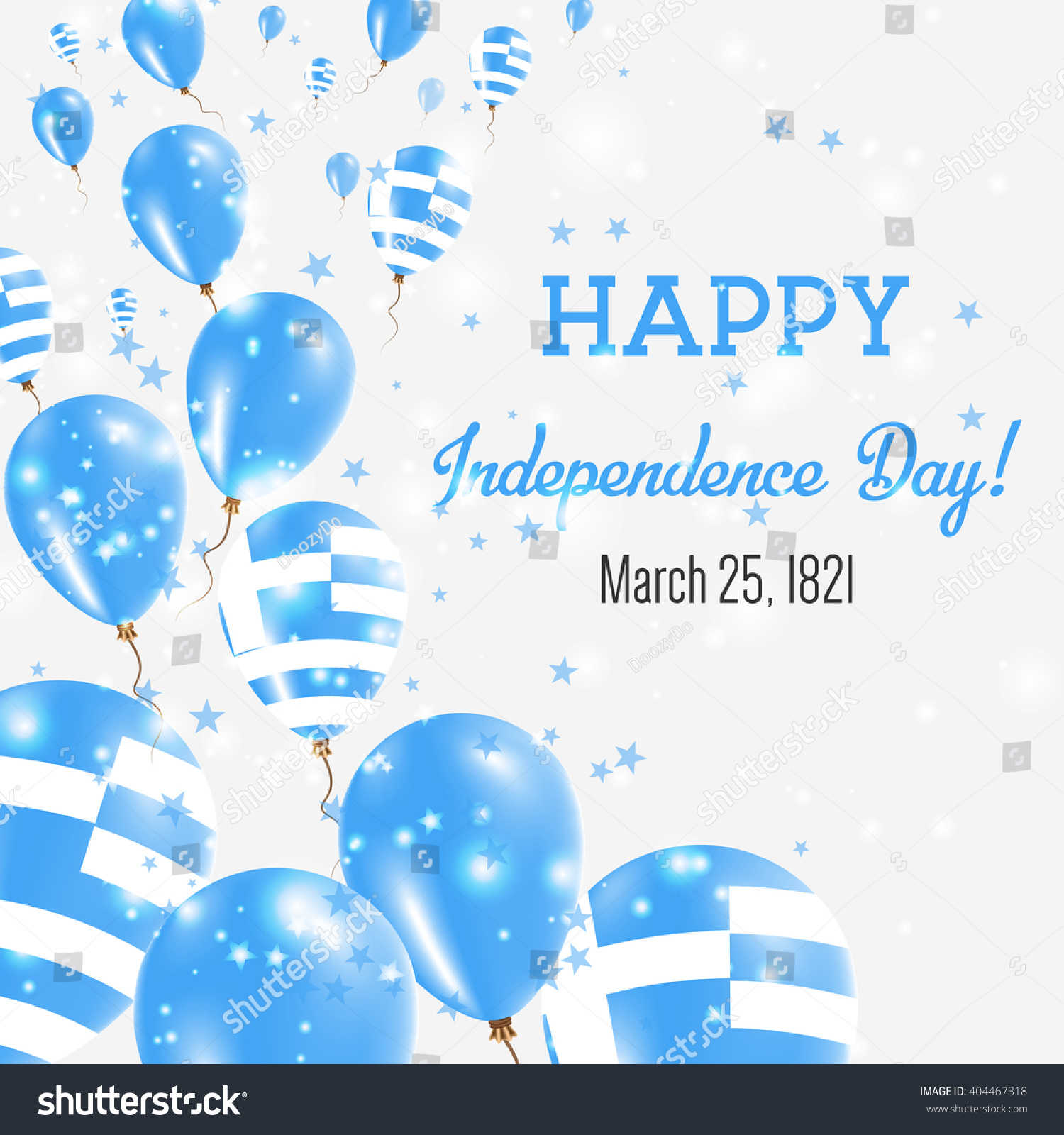 Greece Independence Day Greeting Card Flying Stock Vector Royalty