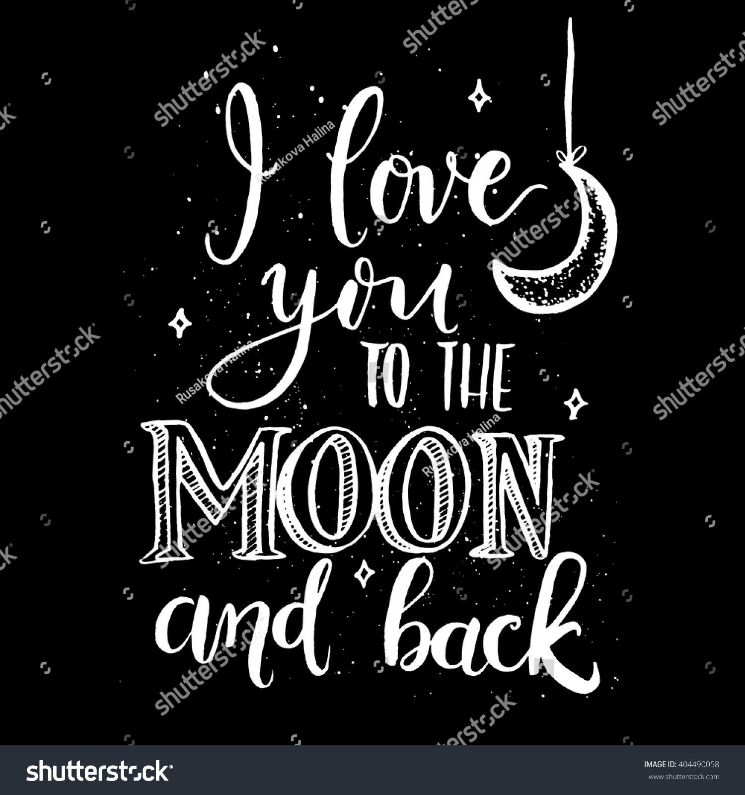 Love you moon backmodern calligraphy vector stock