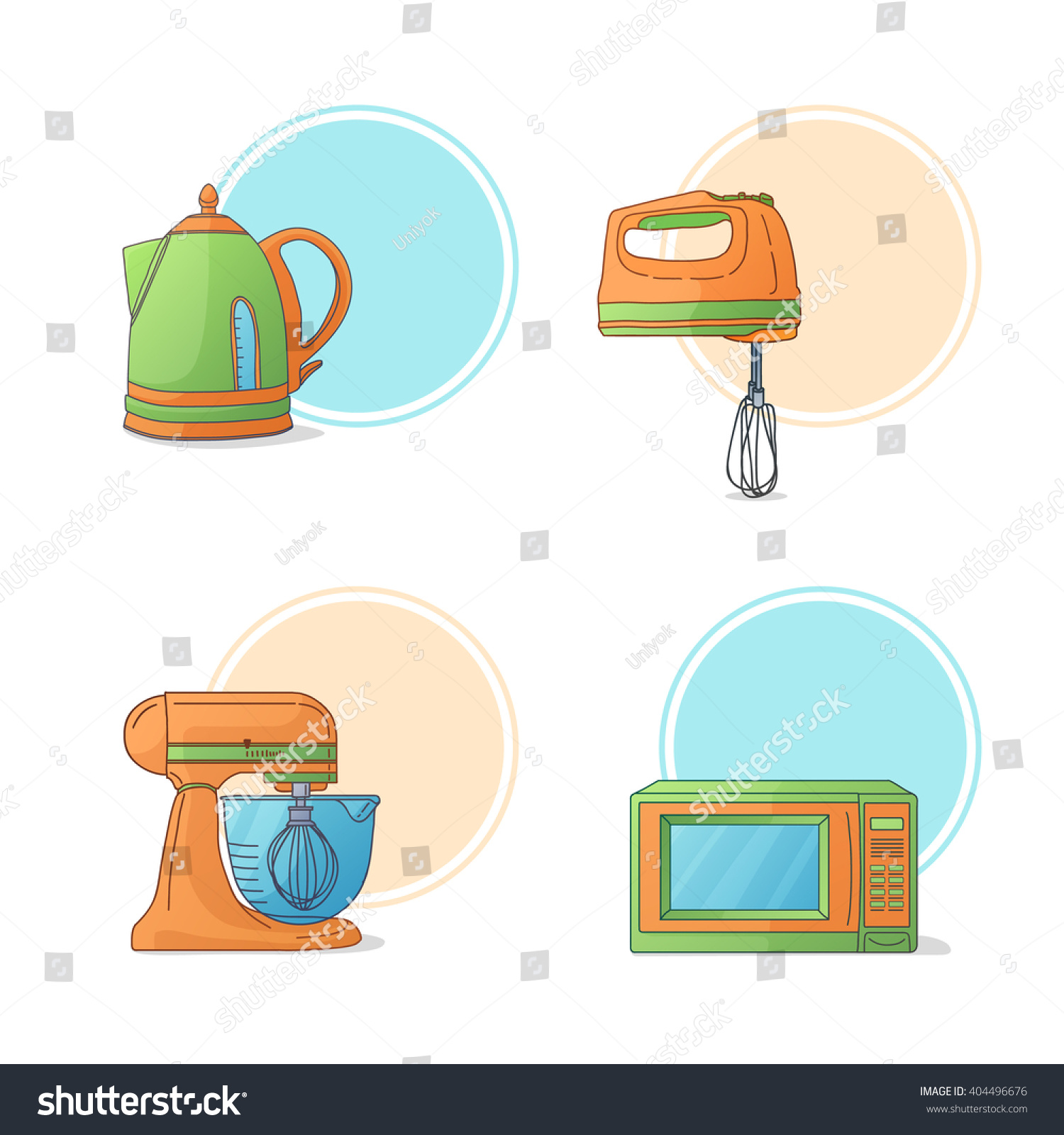 Cartoon kitchen appliances - A Set Of Electrical Appliances Kitchen Appliances In Cartoon Style Icons Stickers