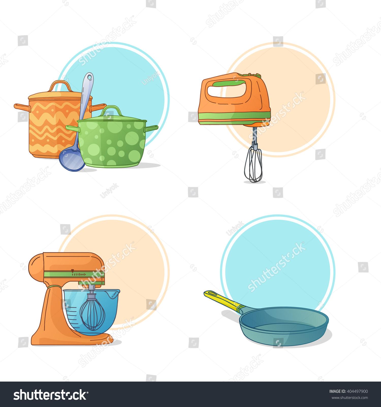 Cartoon Kitchen Tools ~ Set kitchen utensils cartoon style stock vector