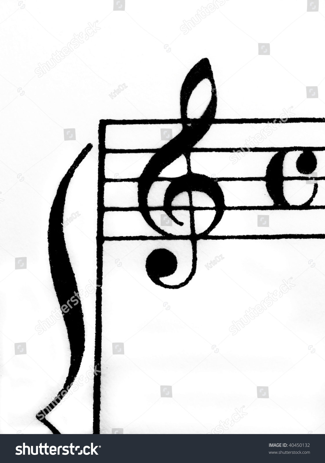 Treble clef on sheet music manuscript stock photo 40450132 treble clef on sheet music manuscript with common time signature and ledger lines biocorpaavc