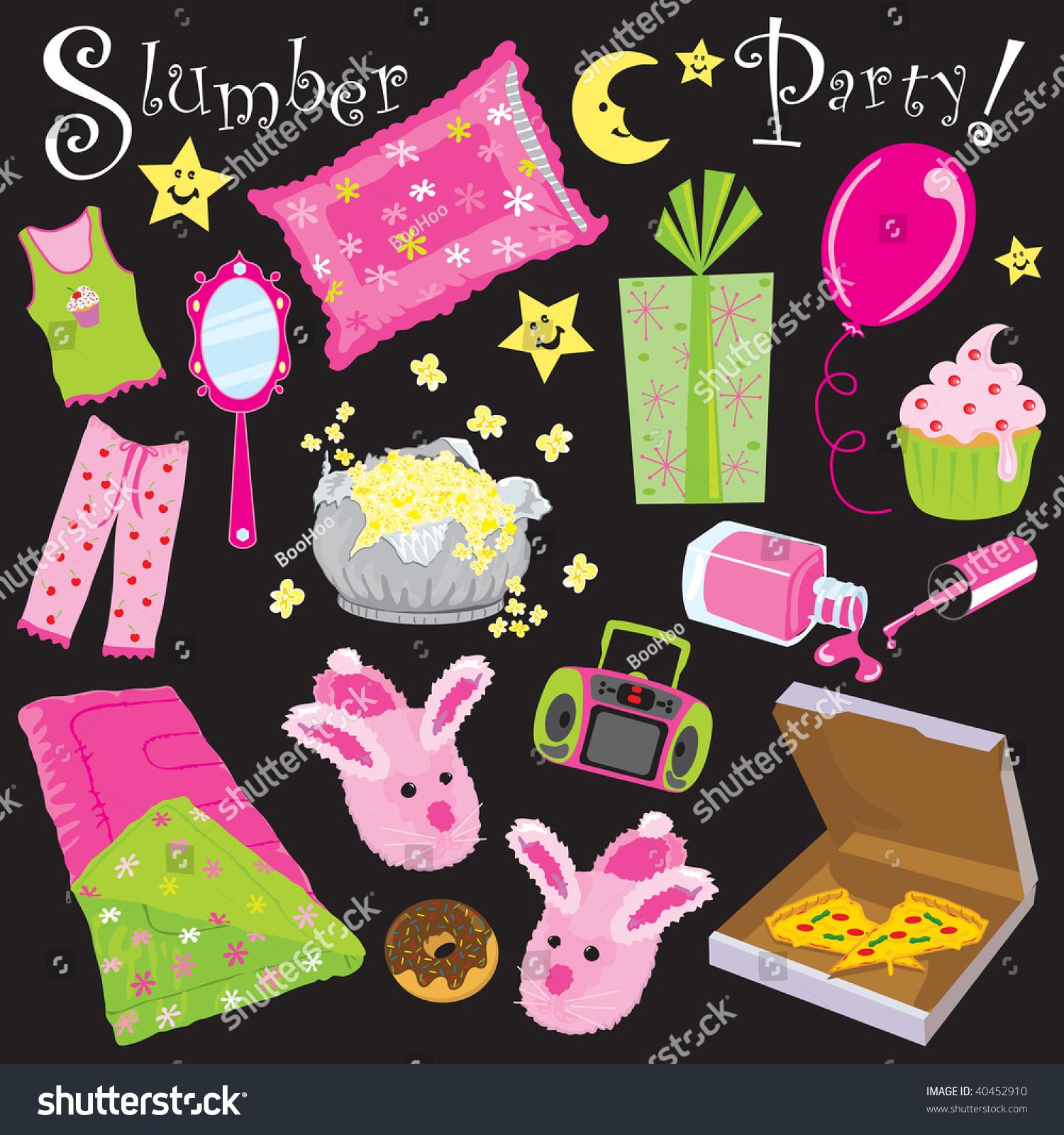Slumber Birthday Party Invitation Clipart Stock Photo