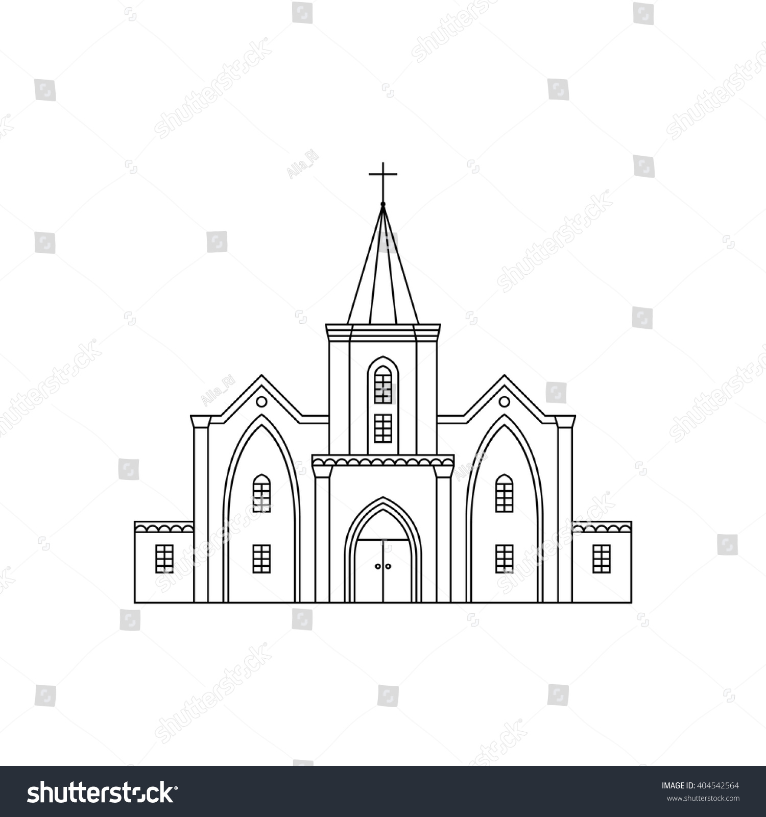 Vector Outline Illustration Building Facade Church Stock Photo ...