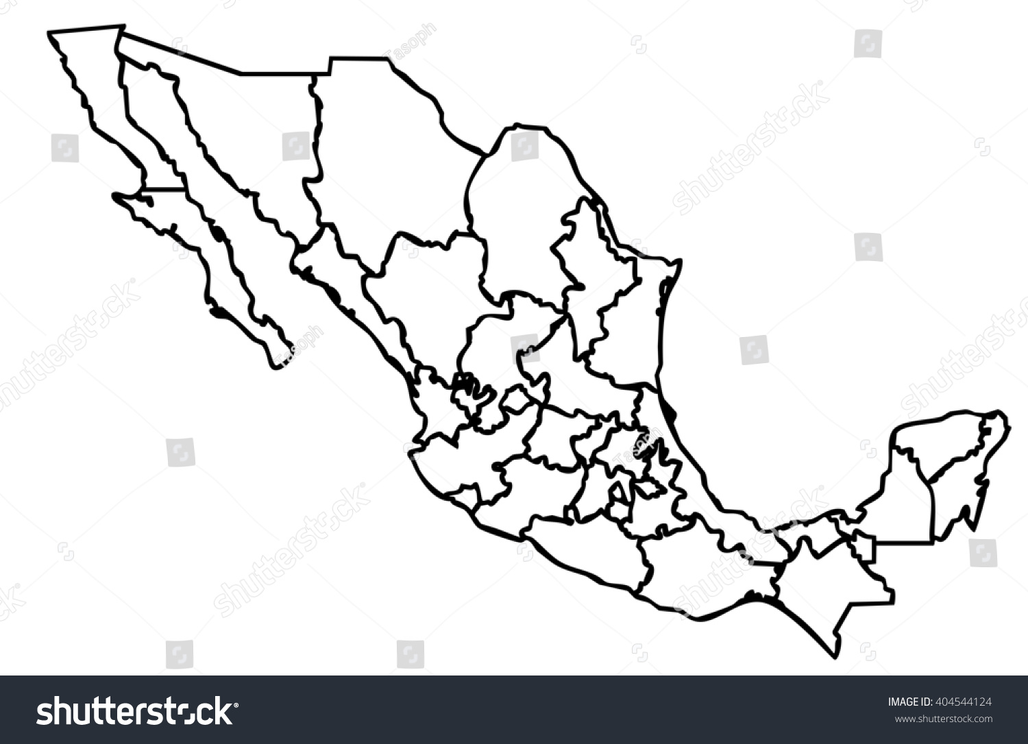 isolated political mexican map of mexico state of america with black outline of internal country frontier