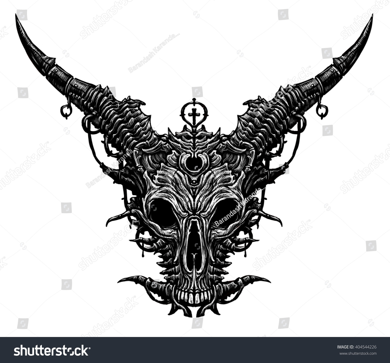 Satan Goat Head White Background Stock Illustration ...