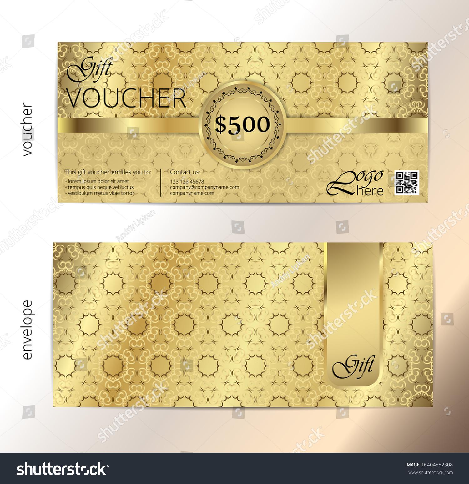 Voucher Voucher Gold Gift Luxury Certificate Vector – Money Coupon Template