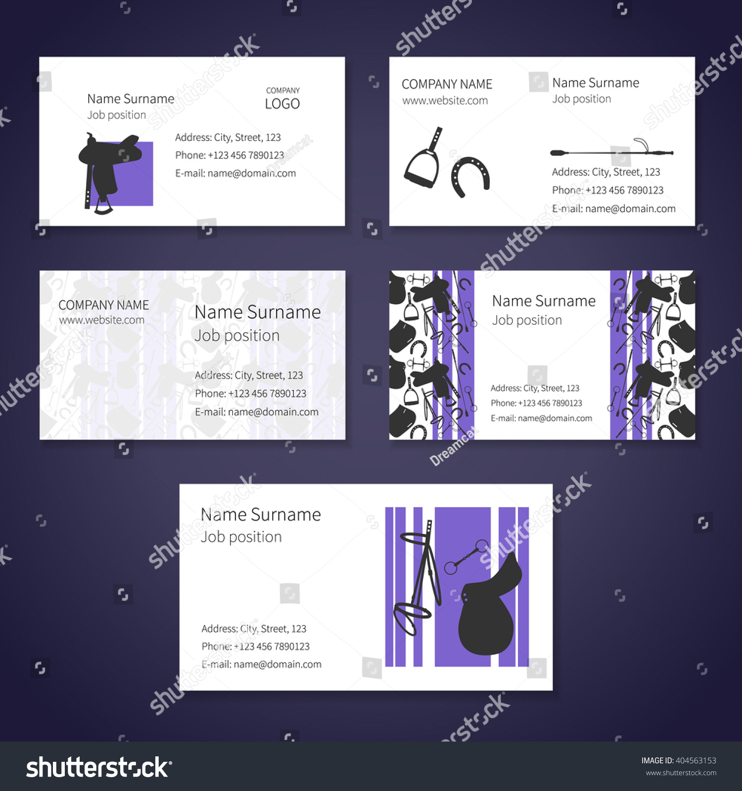 Set White Business Cards Different Items Stock Vector 404563153 ...