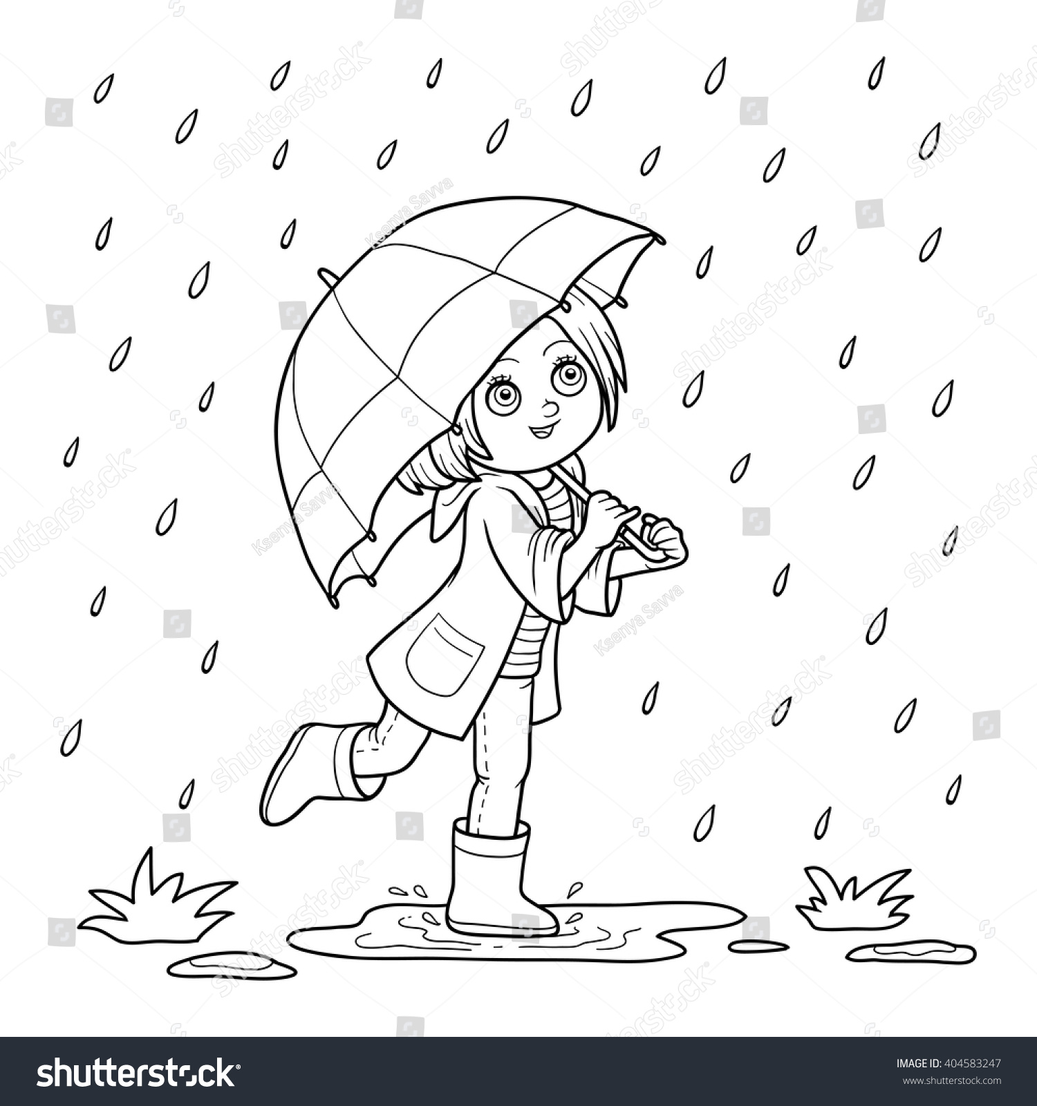 Coloring book for girl - Coloring Book For Children Girl Running With An Umbrella In The Rain