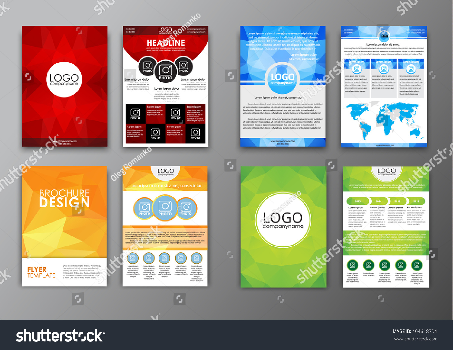 set brochure templates flyers front back stock vector  set brochure templates flyers the front and back of the page advertising