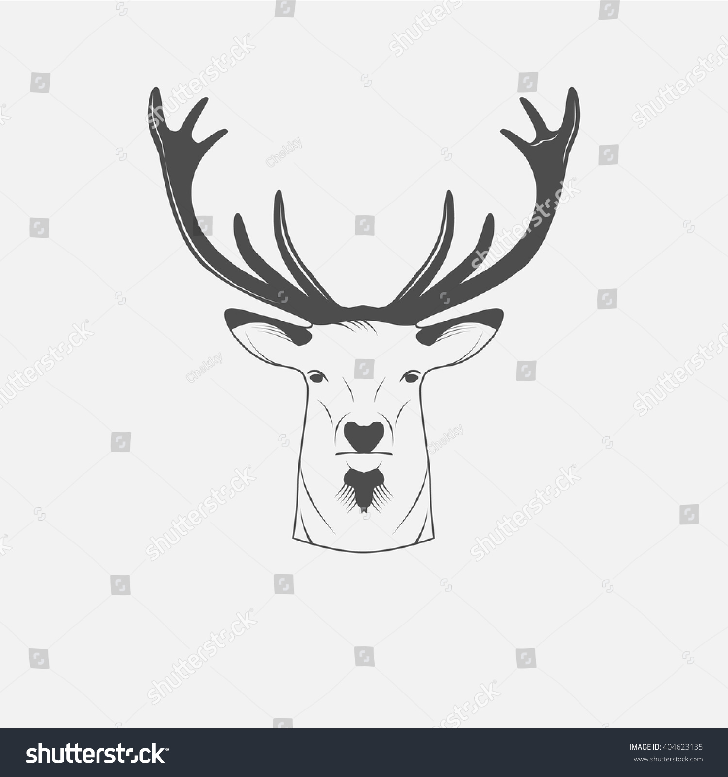 Deer illustration black and white - photo#7