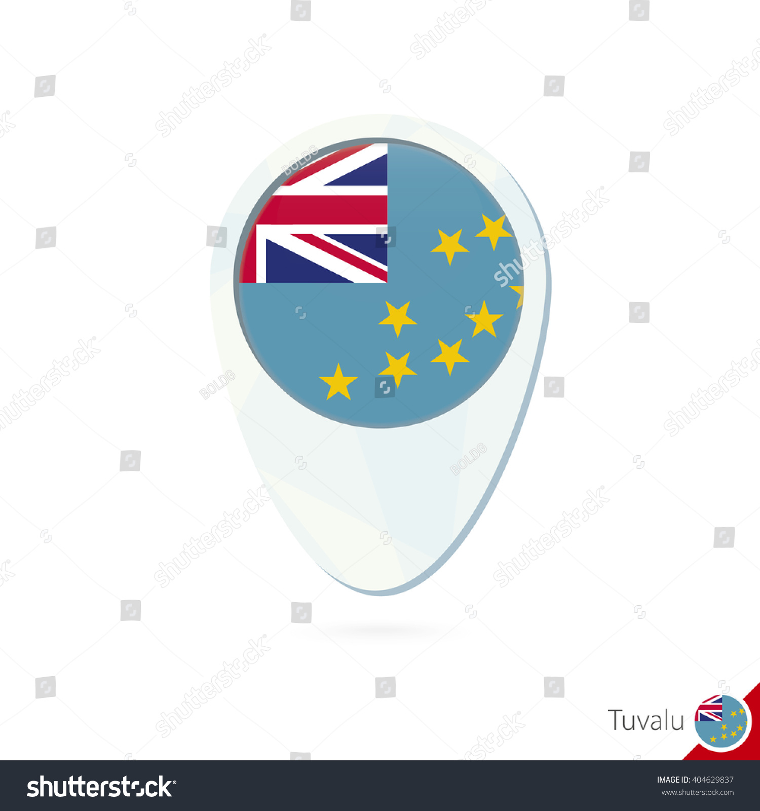 Tuvalu Flag Location Map Pin Icon Stock Illustration 404629837