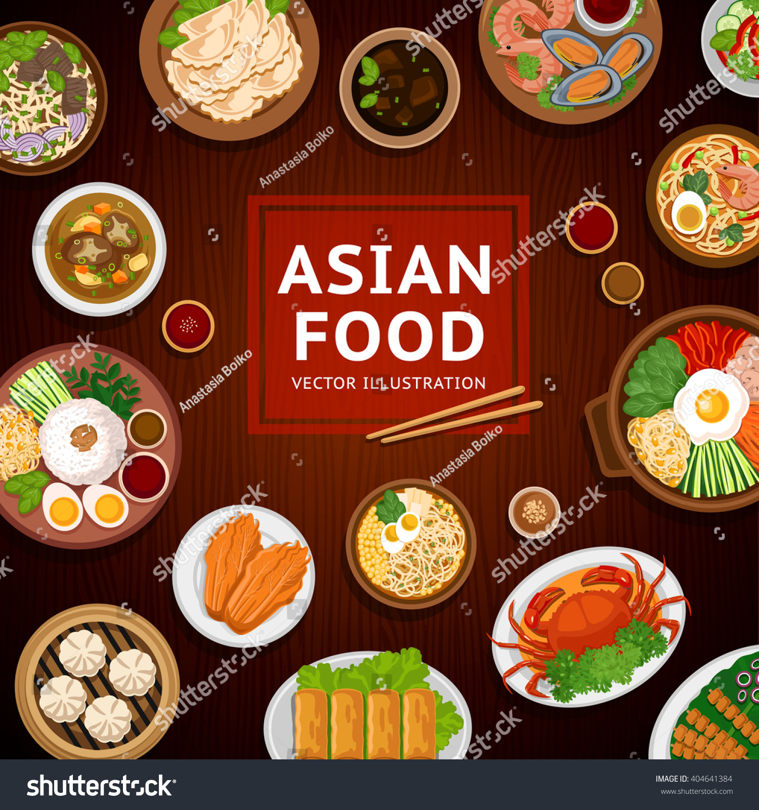 Asian food traditional national dishes on stock vector for Asia asian cuisine
