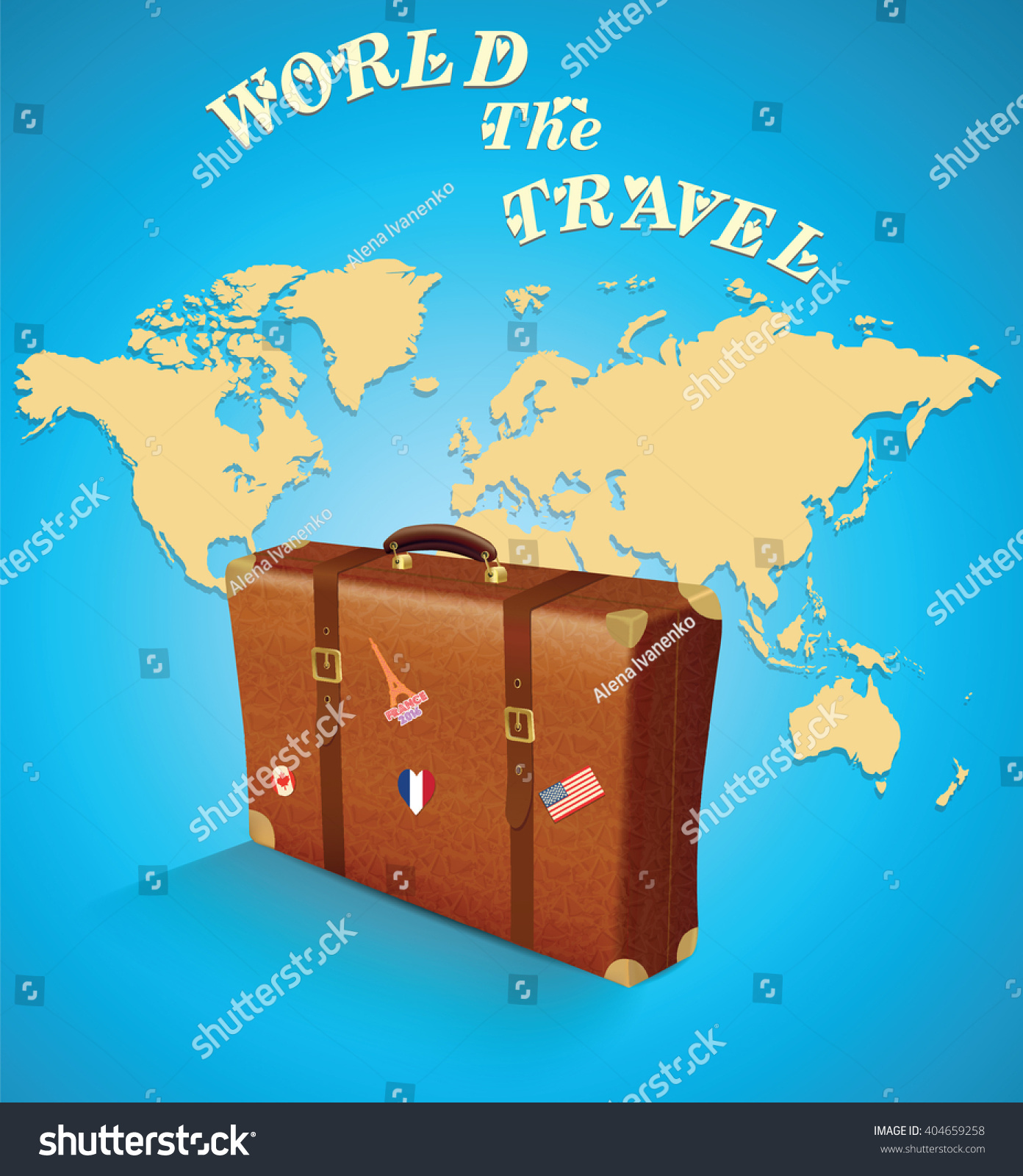 World map suitcase on blue background stock vector 404659258 world map and a suitcase on a blue background vector illustration gumiabroncs Images