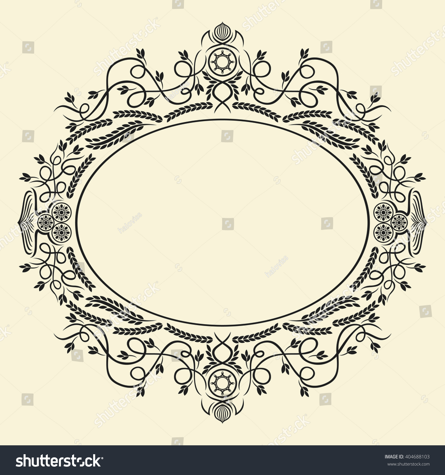 Black Elegant Oval Frame Template Design Stock Photo (Photo, Vector ...