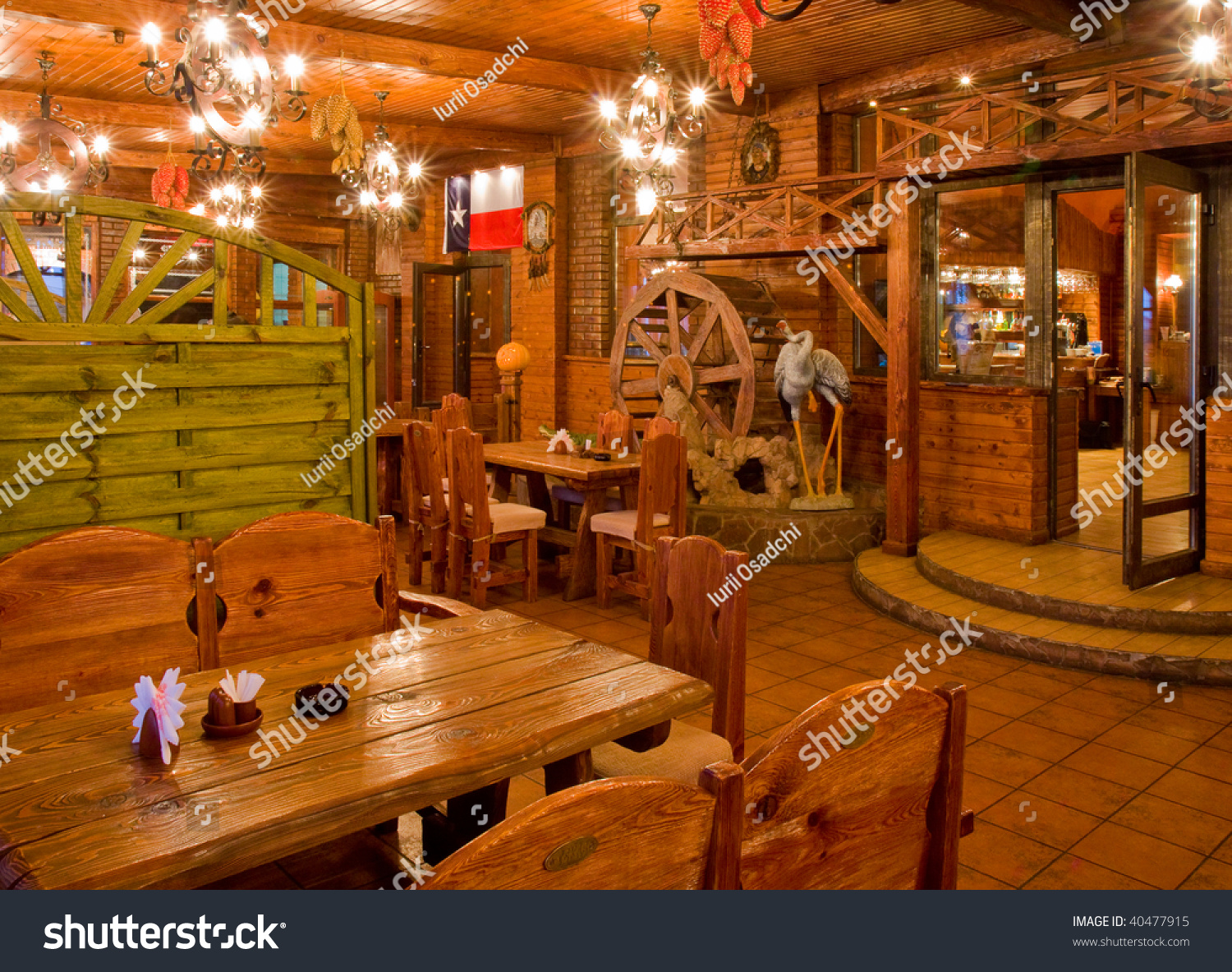Country style restaurant interior stock photo