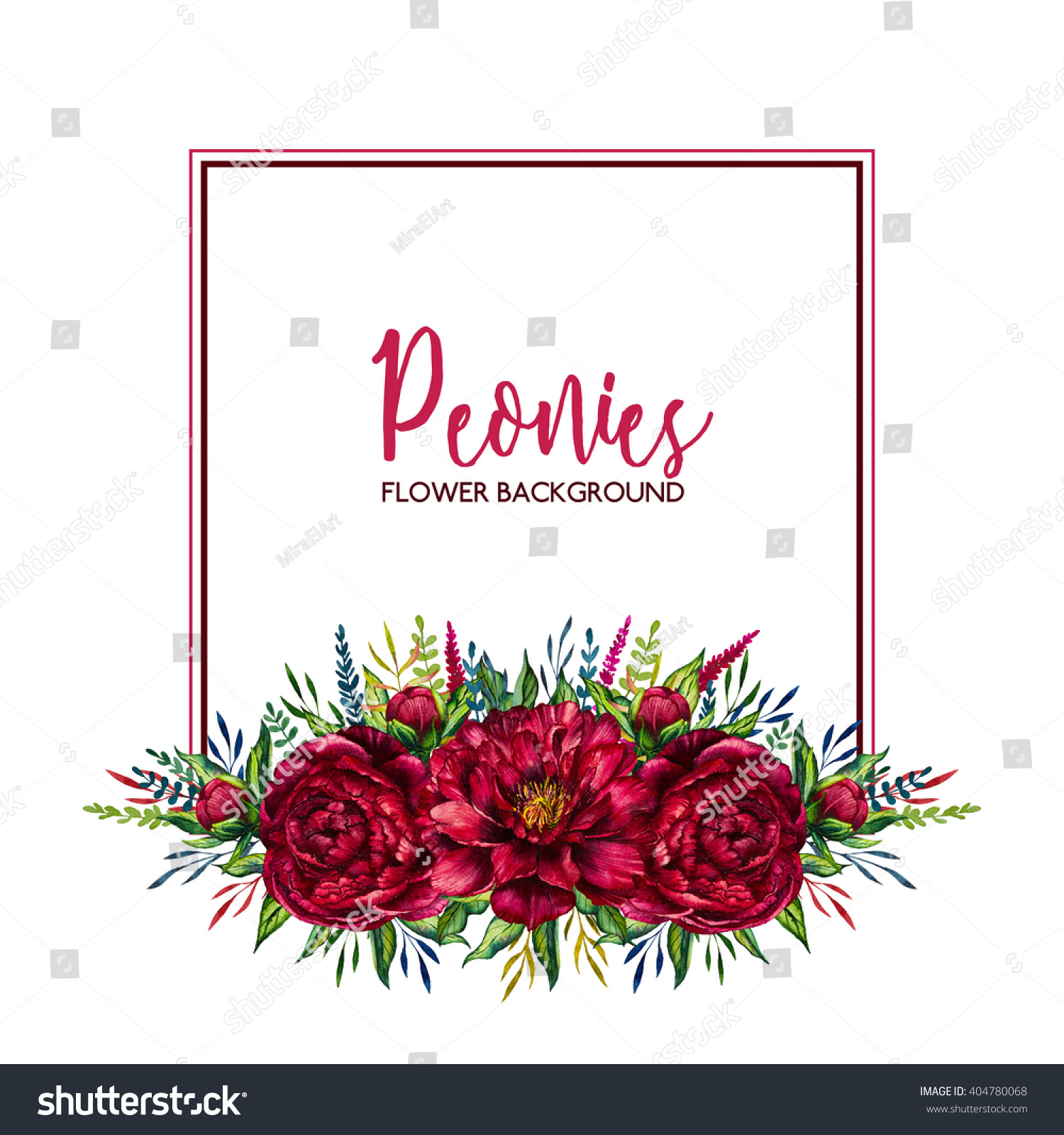 Watercolor Floral Border Flower Red Peony Stock Illustration ...