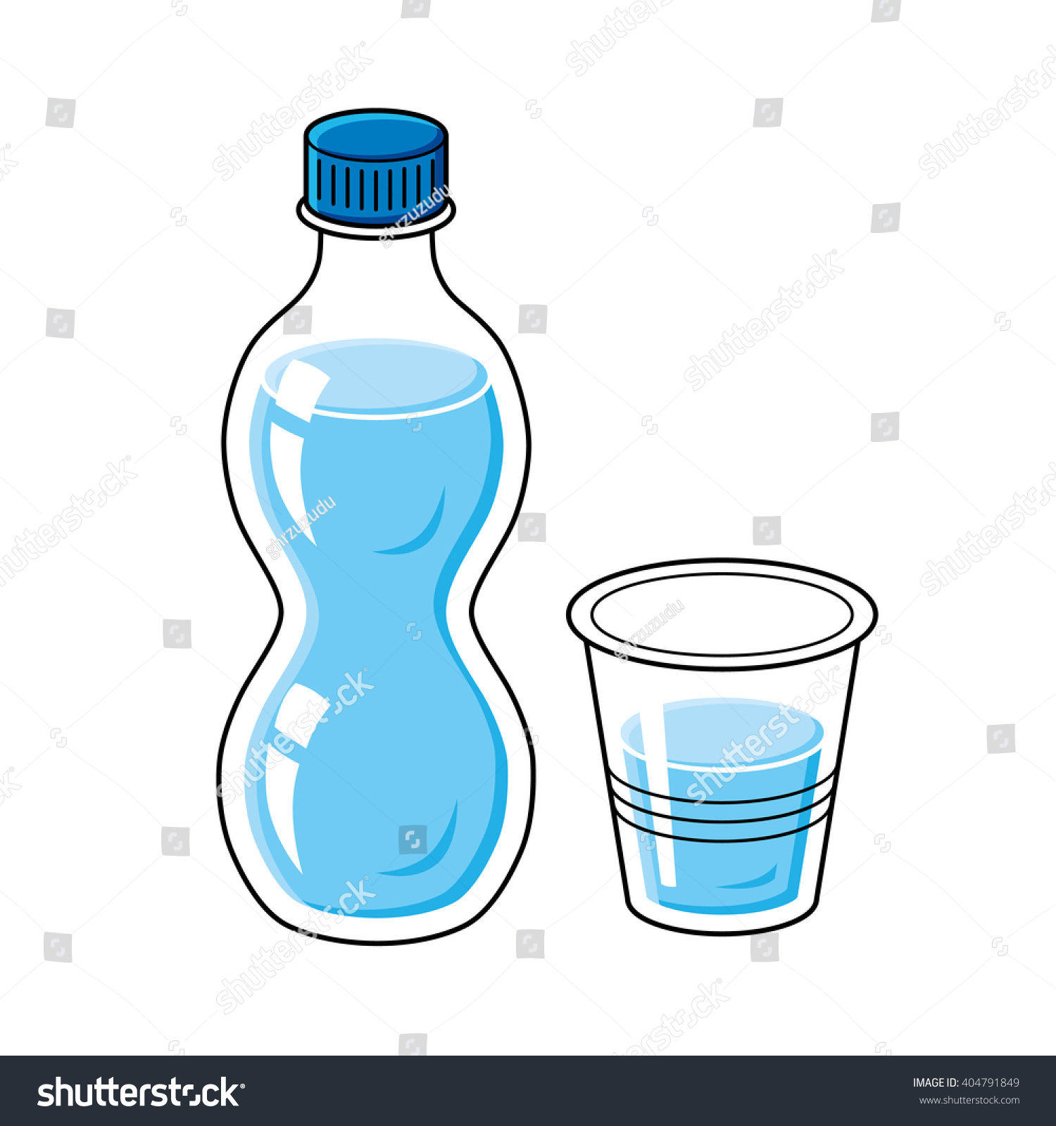 Water Bottle Quarter Prank: Water Bottle And Cup. Stock Vector Illustration 404791849