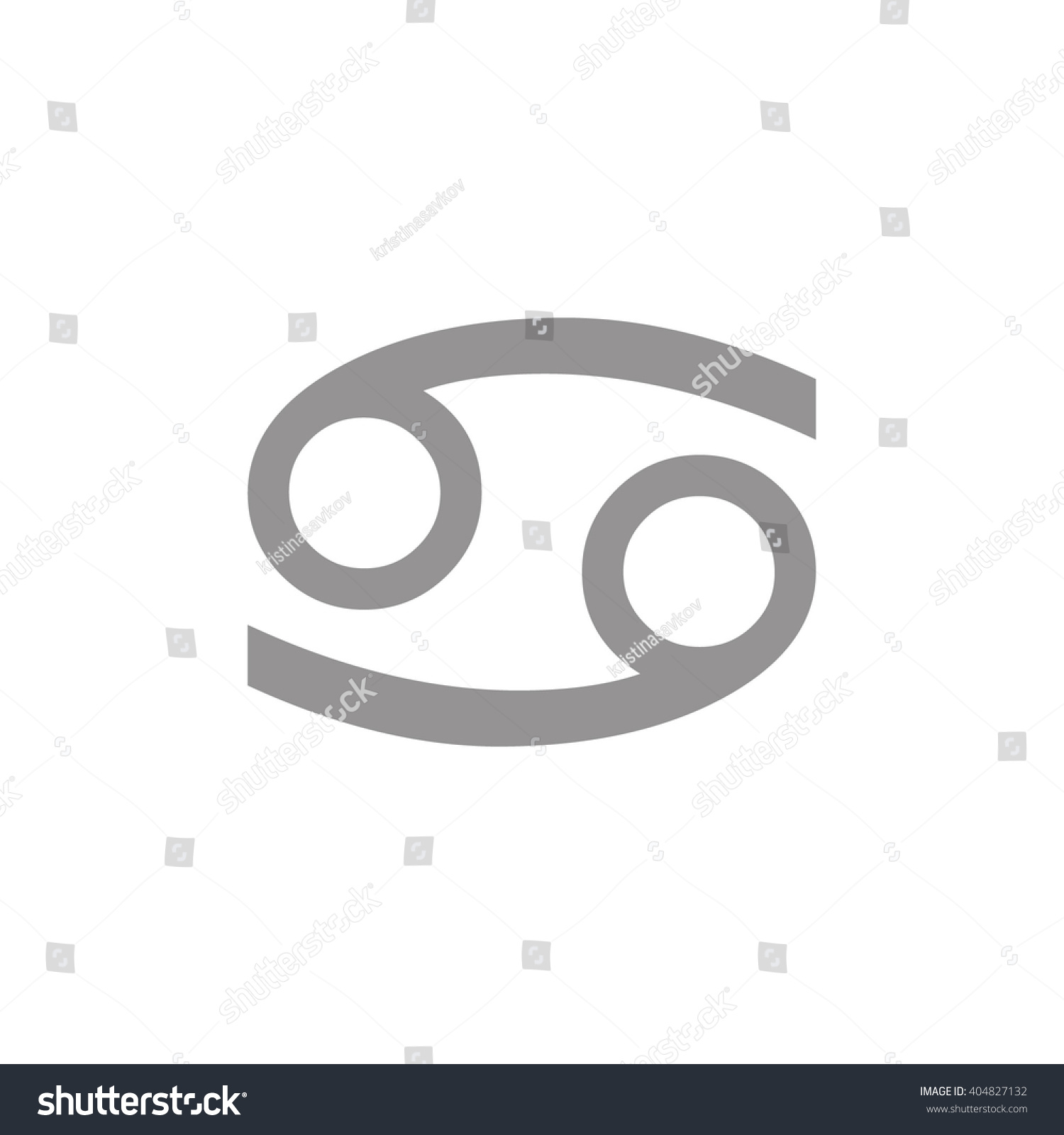 Gray Cancer Zodiac Sign Astrology Symbol Stock Vector Royalty Free