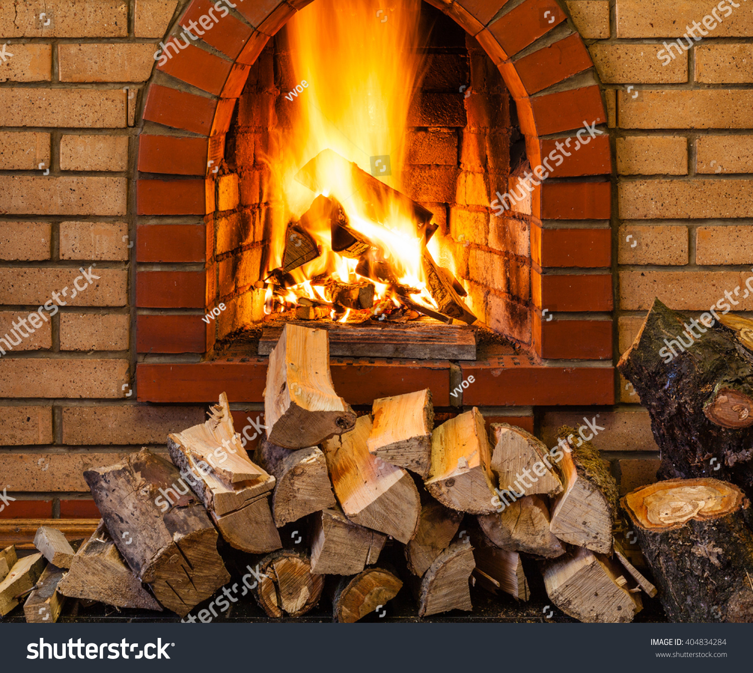 Stack Firewood Fire Indoor Brick Fireplace Stock Photo 404834284