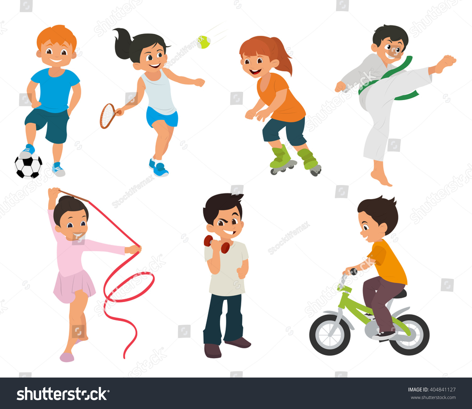 Sports Kids Doing Different Kinds Sports Stock Vector