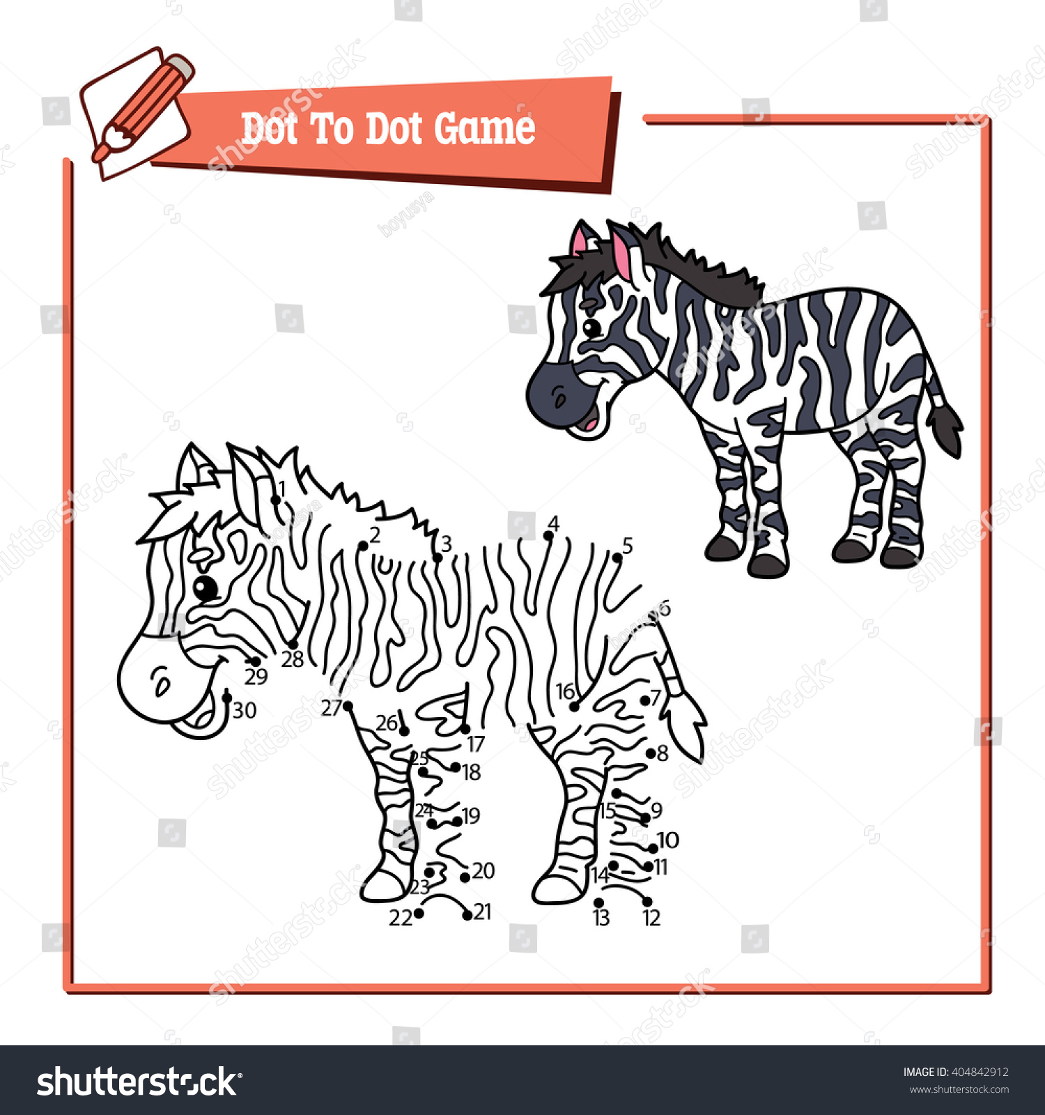 dot dot educational zebra kid game stock vector 404842912