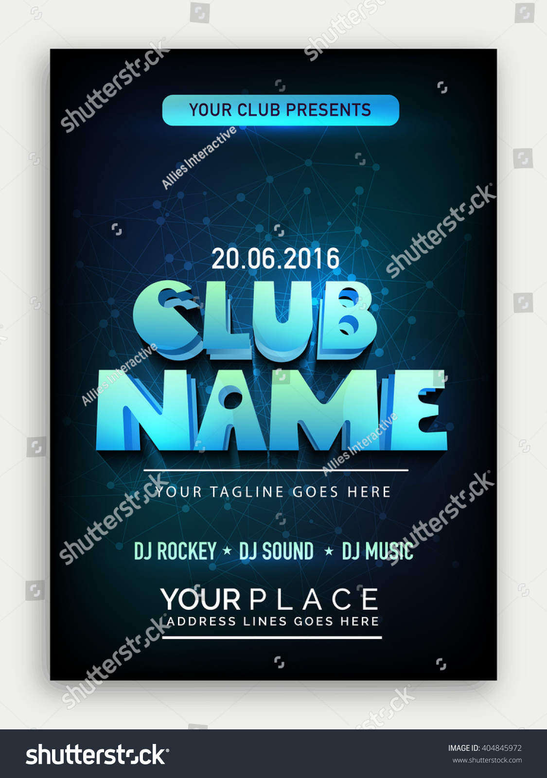 Club Party Template Dance Party Flyer Stock Vector 404845972