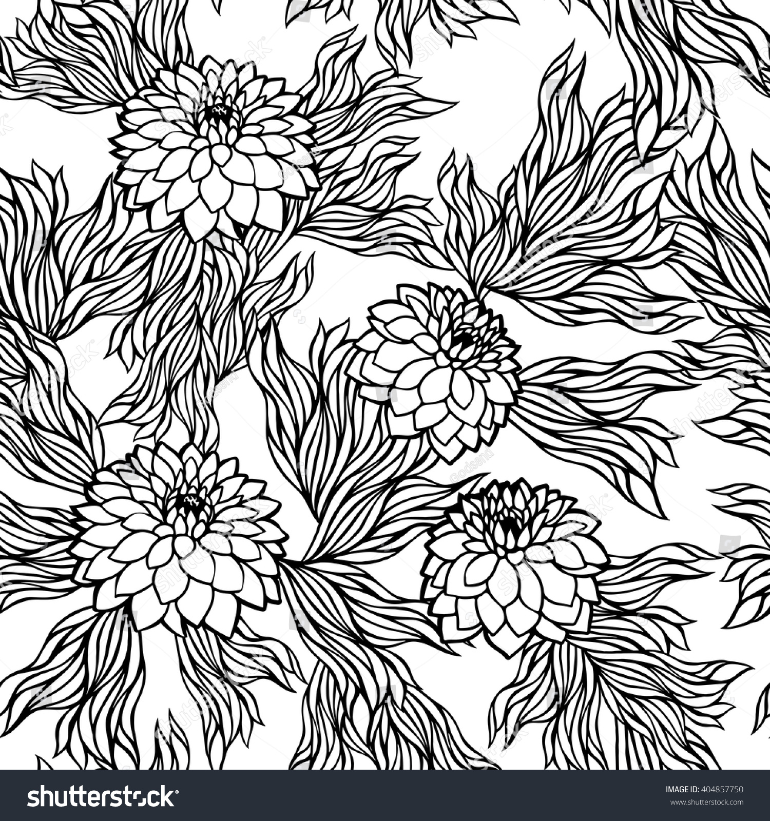 Pink floral seamless vector background floral hrysanthemum seamless - Vector Seamless Floral Pattern Black And White Monochrome In Retro Vintage Style Aster Peony