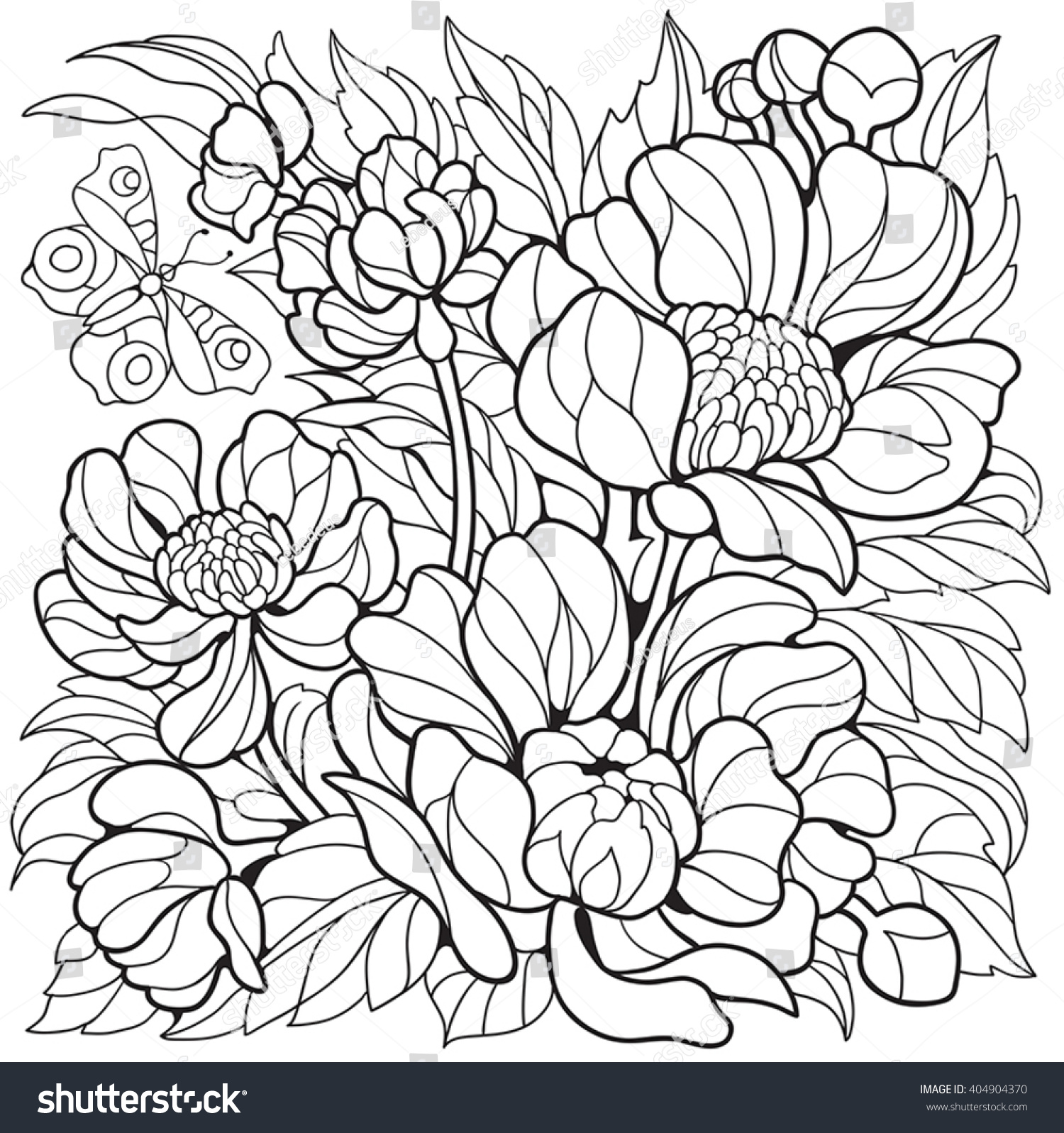 Coloring Pages Flowers Peonies Butterfly Stock Vektorgrafik